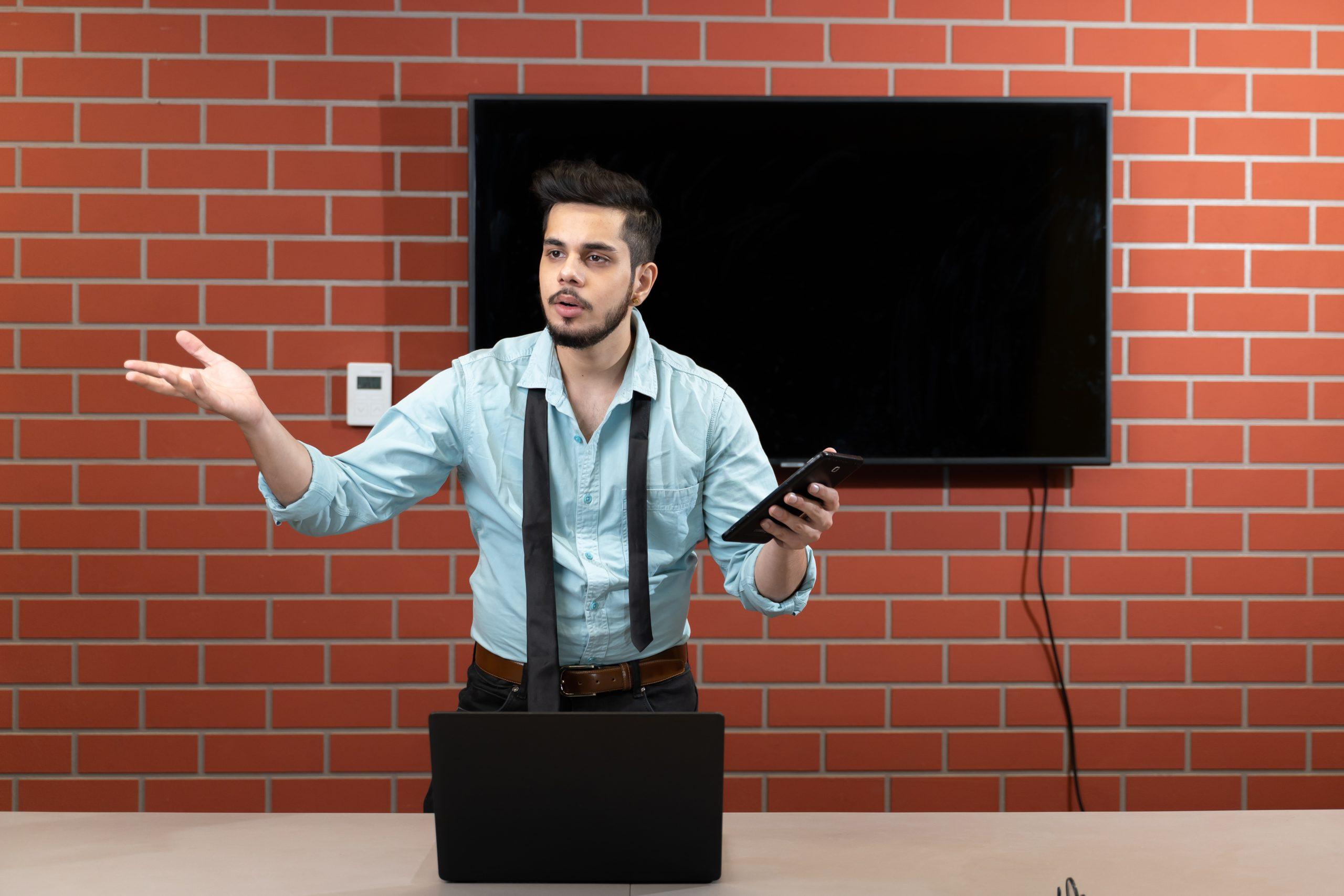 An annoyed boss explaining
