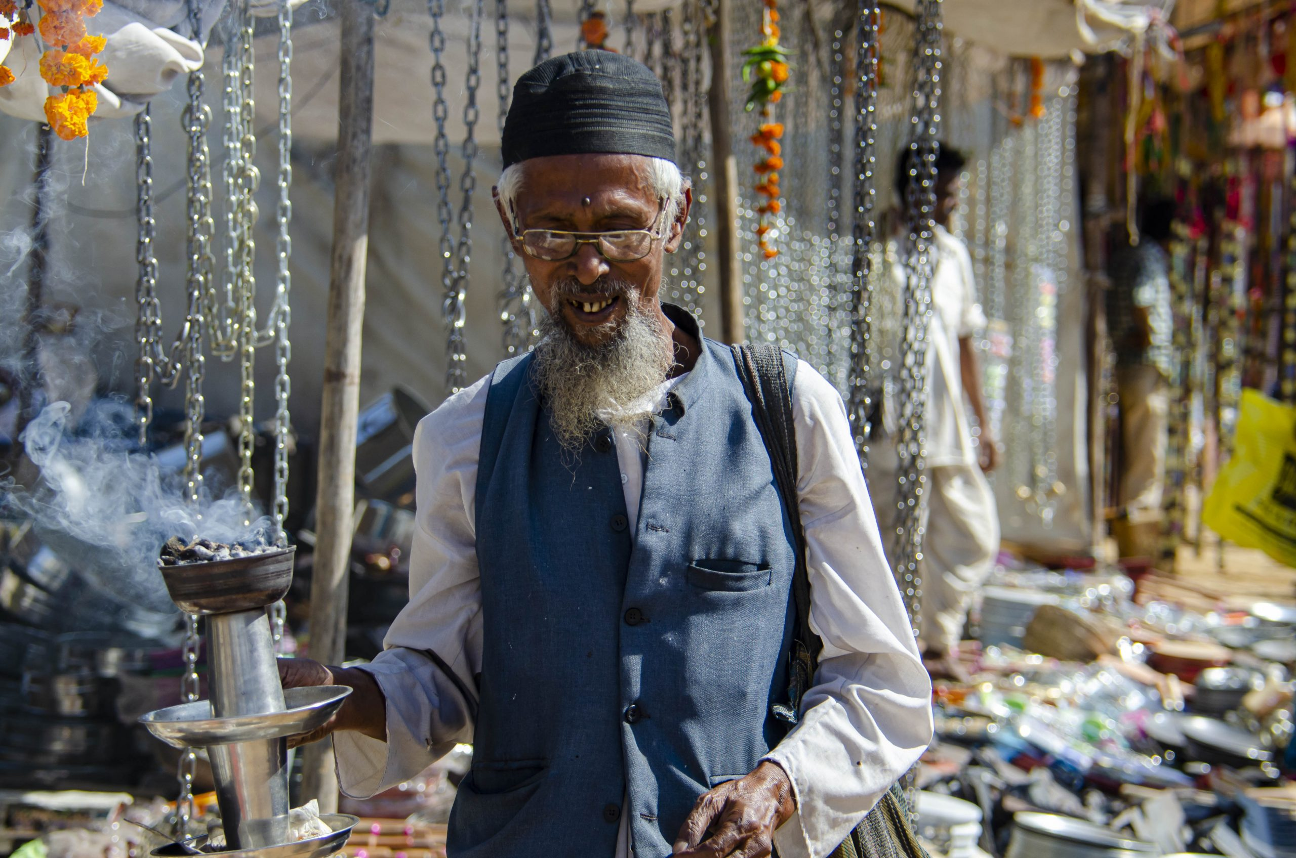 An old man in a market