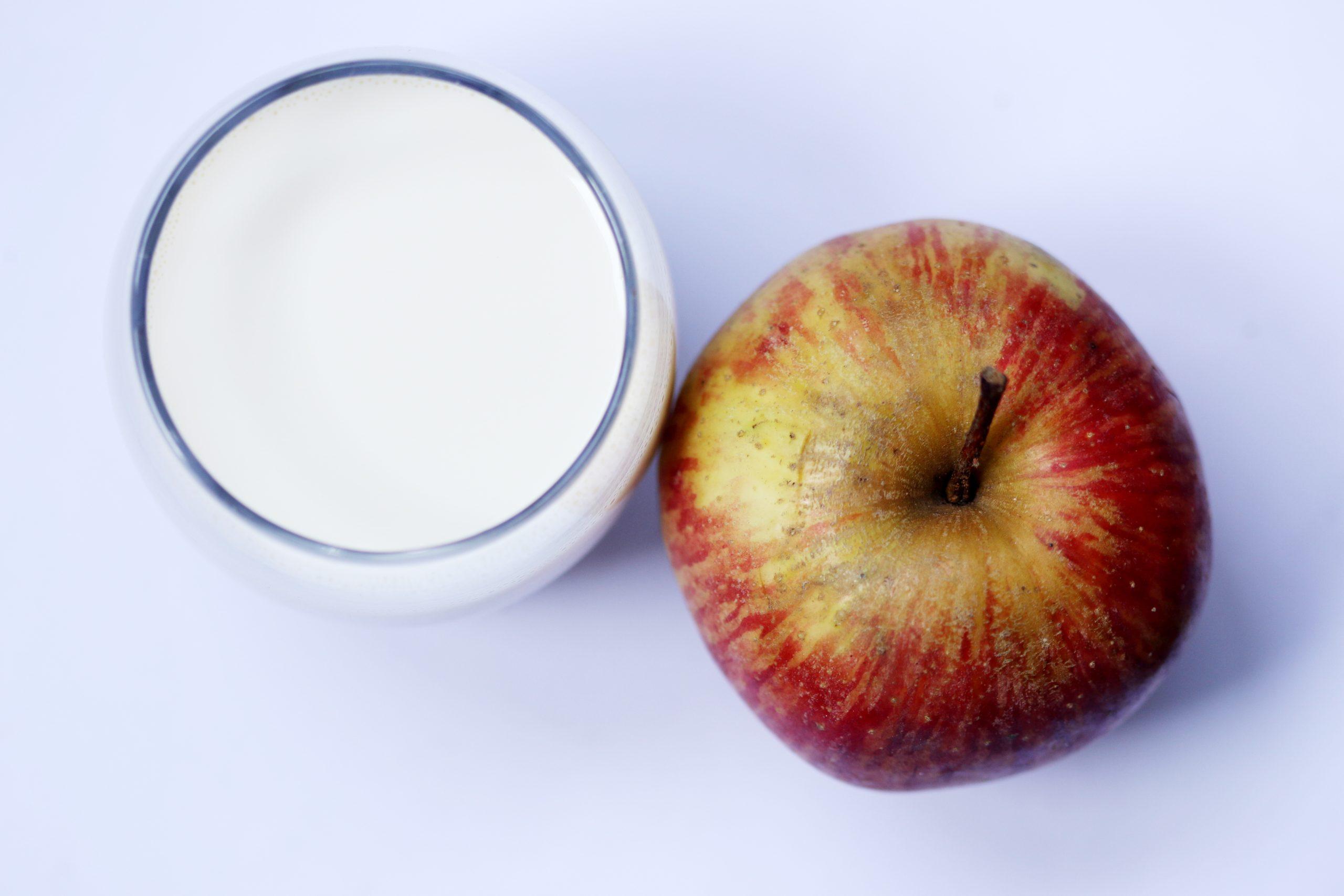 Apple and milk glass