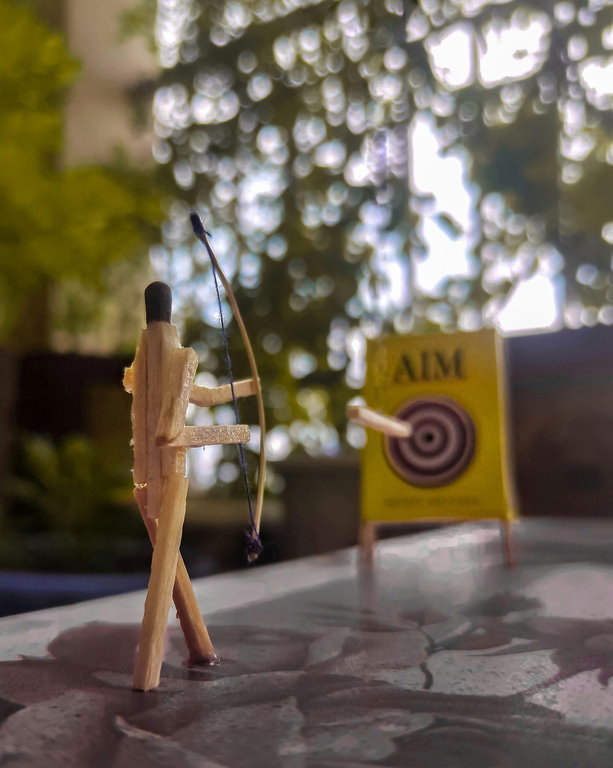 Arrow, bow and aim