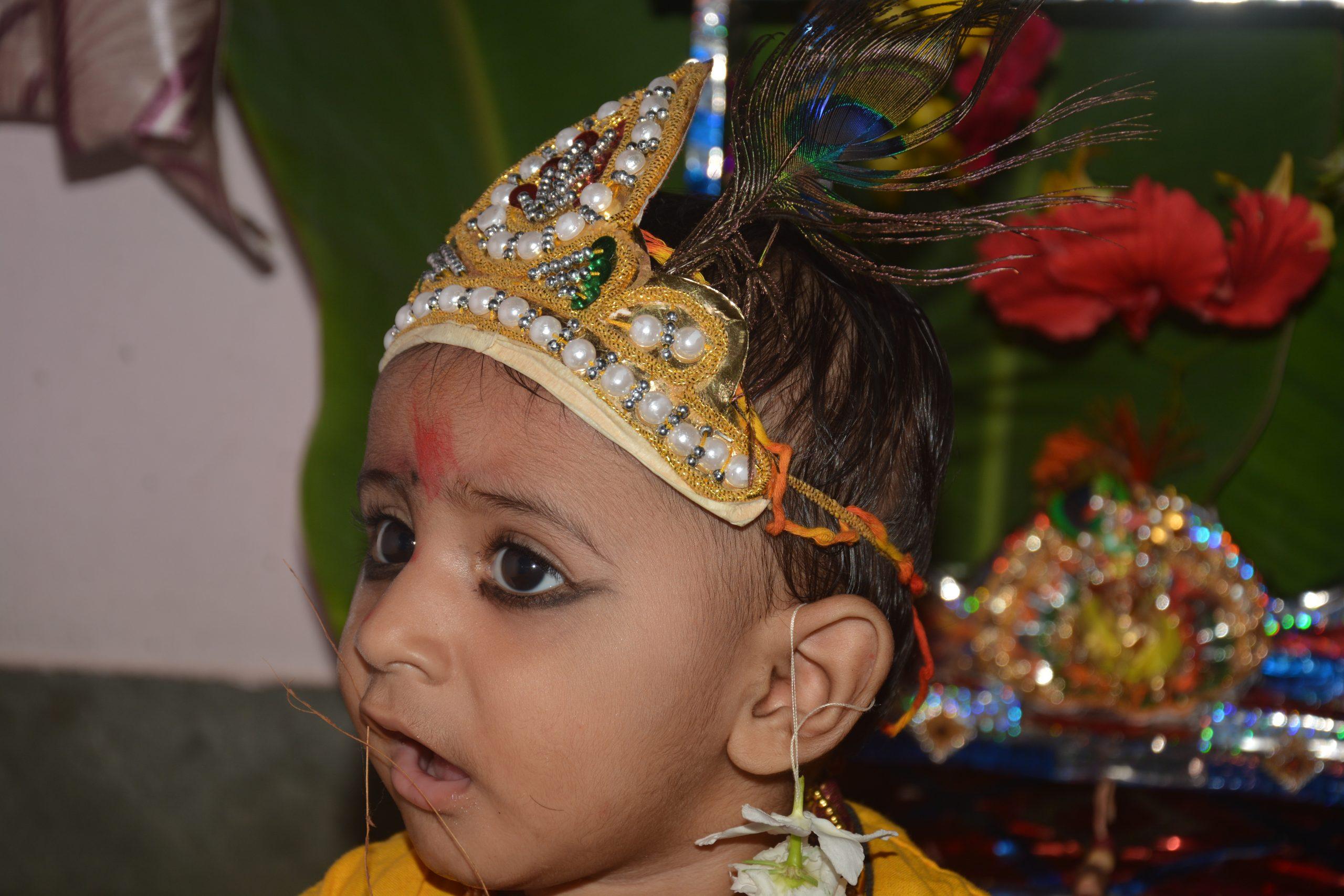 A kid in Krishna makeover