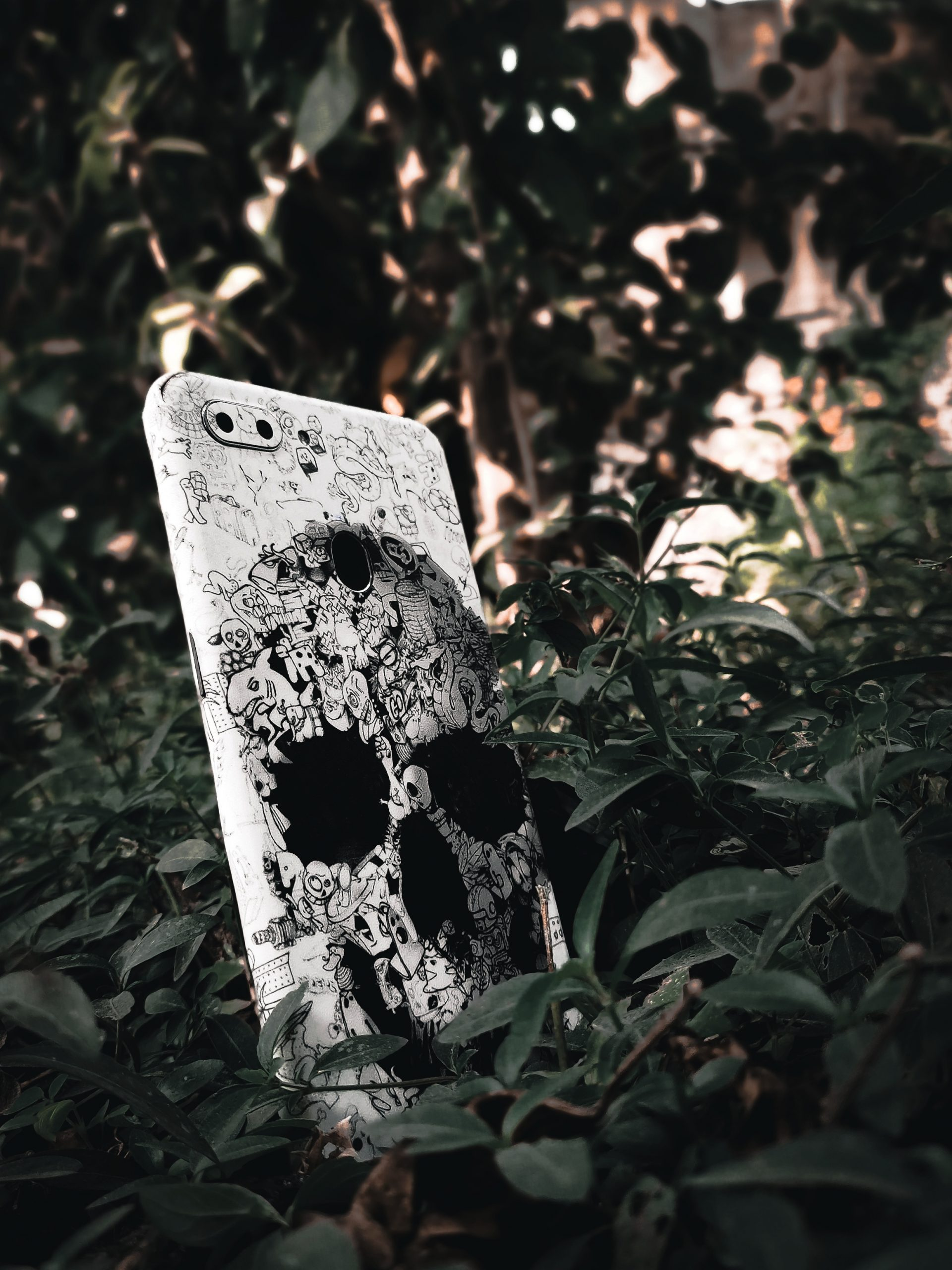 phone back cover between leaves