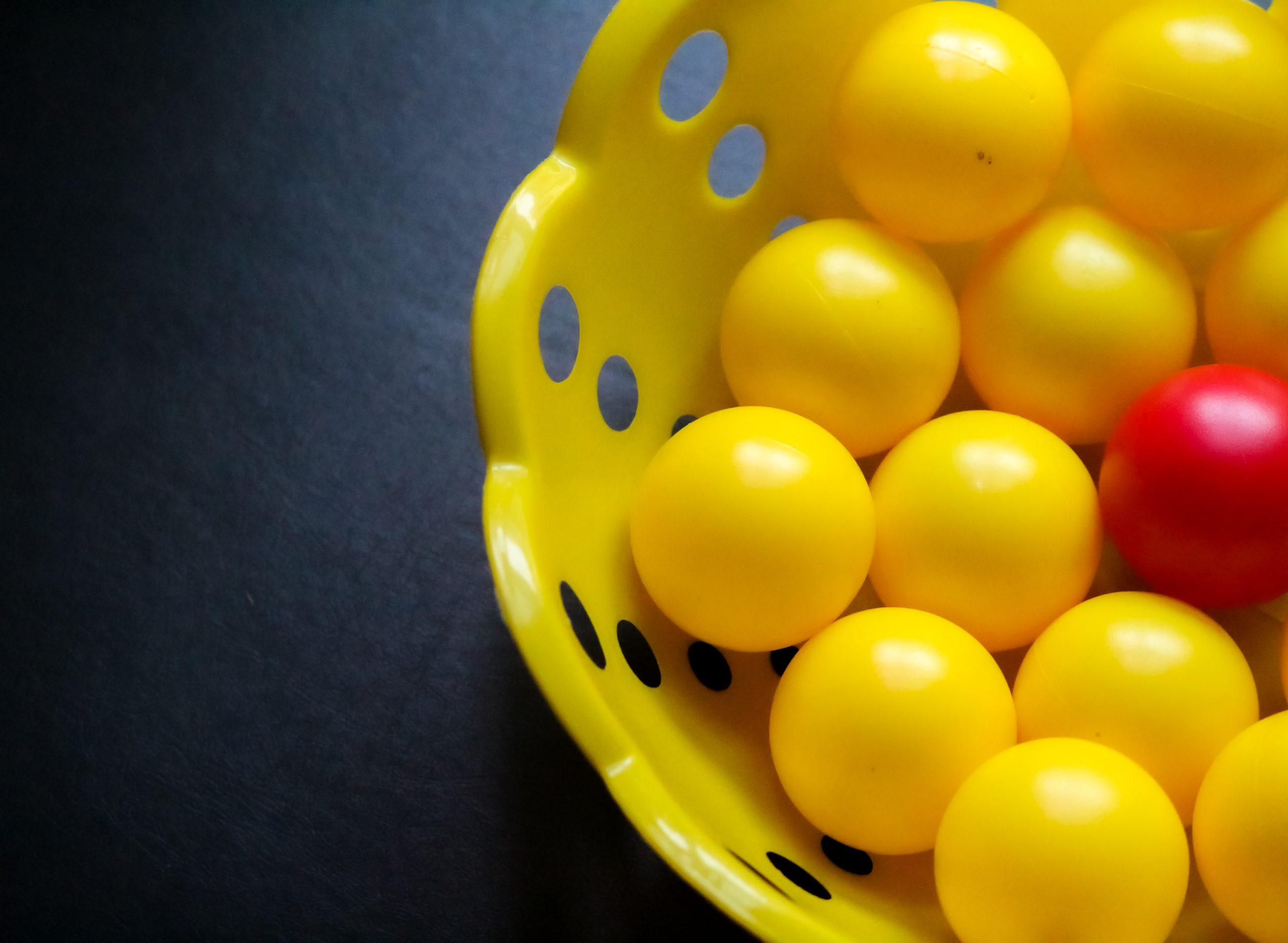 Balls arranged in basket