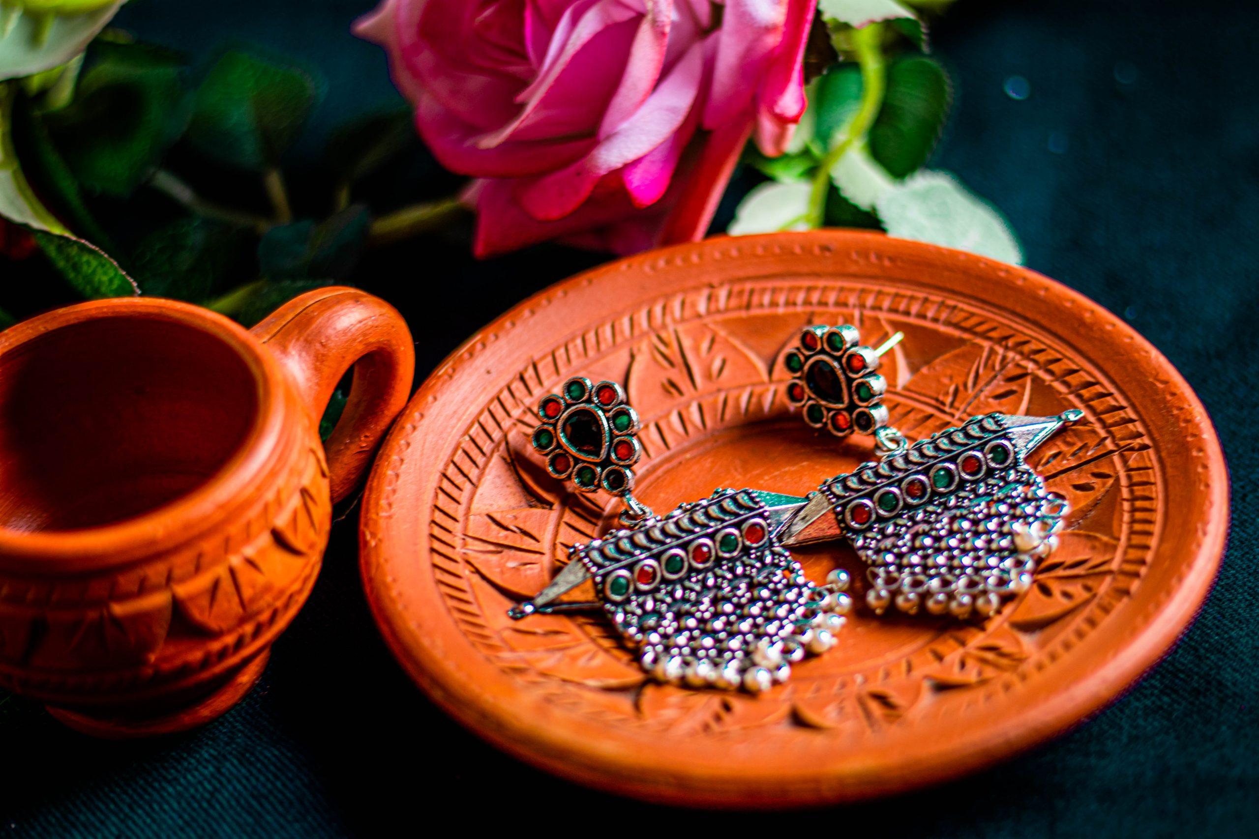 Beautiful Earrings in a plate