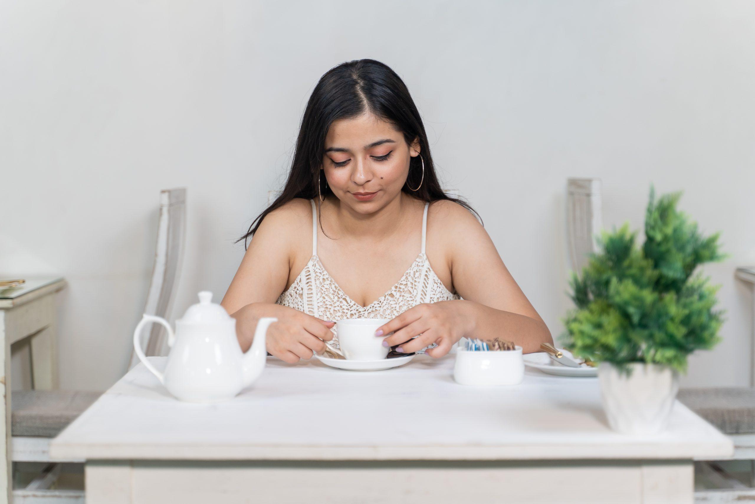 girl having tea
