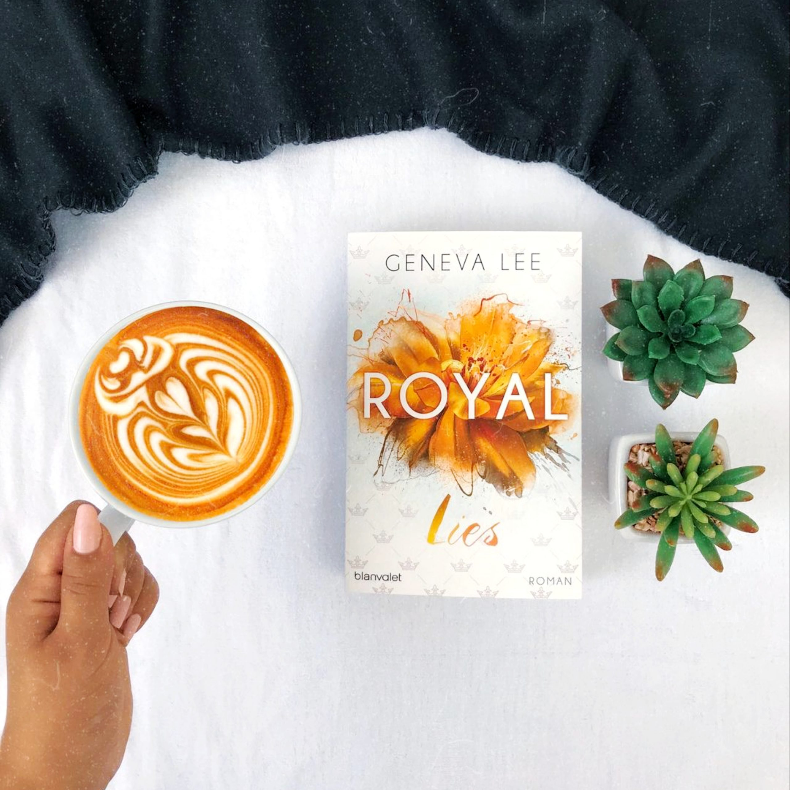 book, coffee and plants