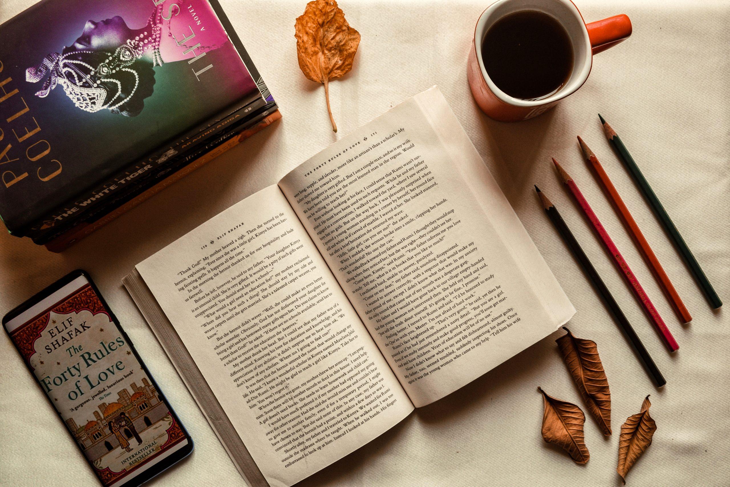 books, pencils, coffee mug, dried leaves