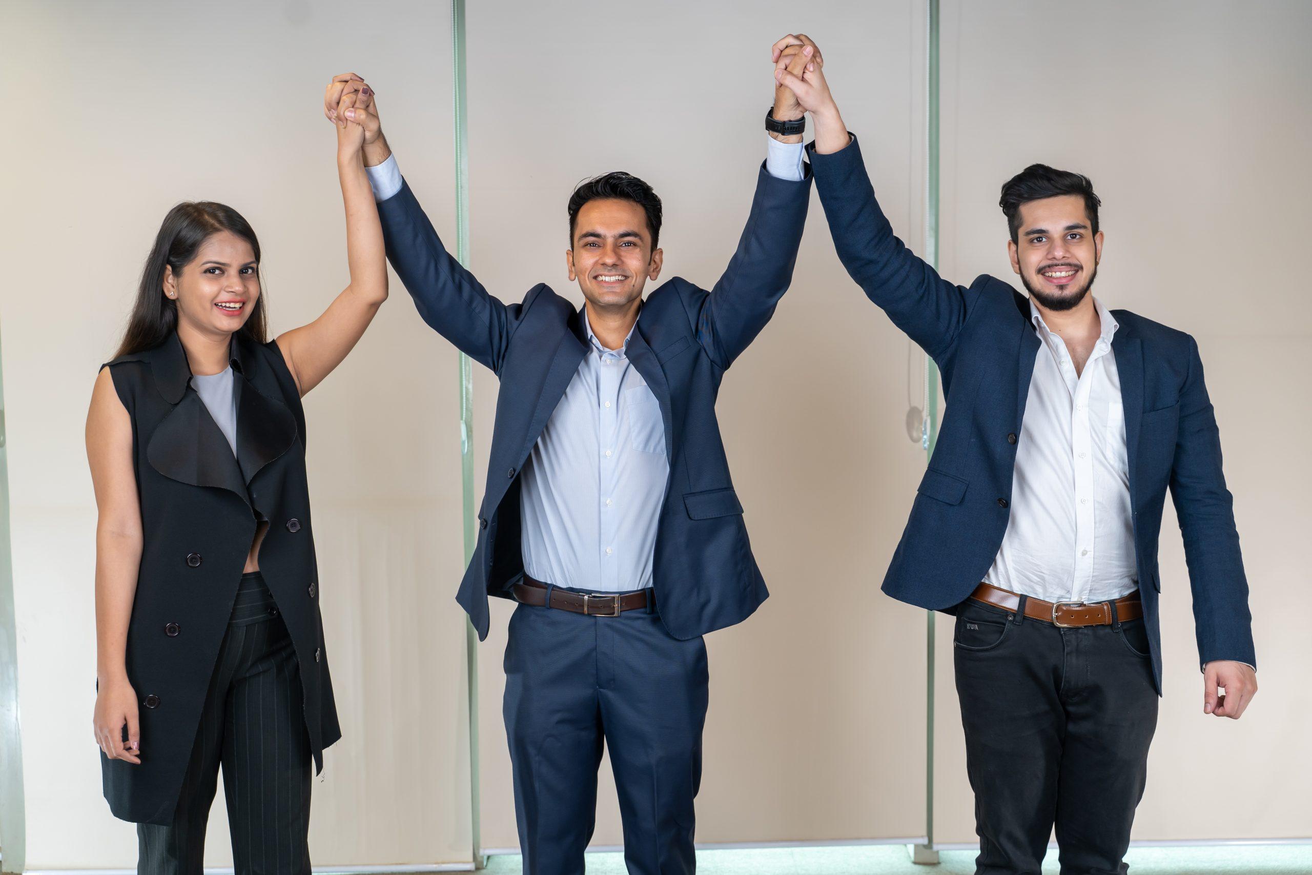 Boss congratulating employees