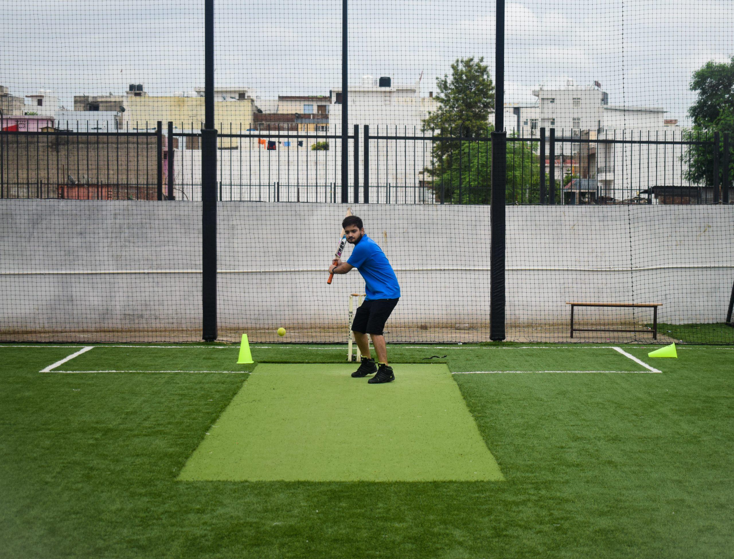 A batsman playing a shot.
