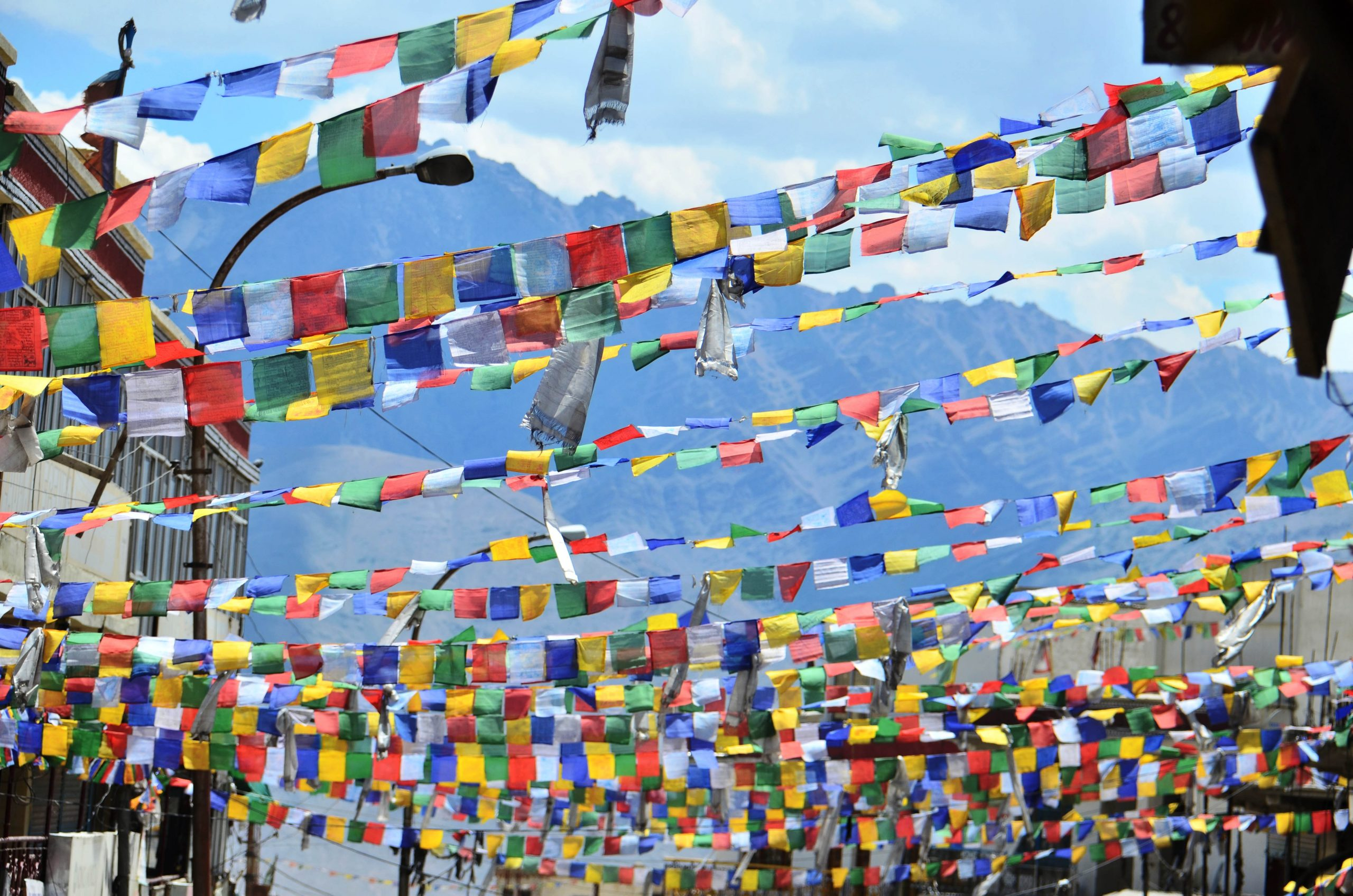 Buddhist flags in a town