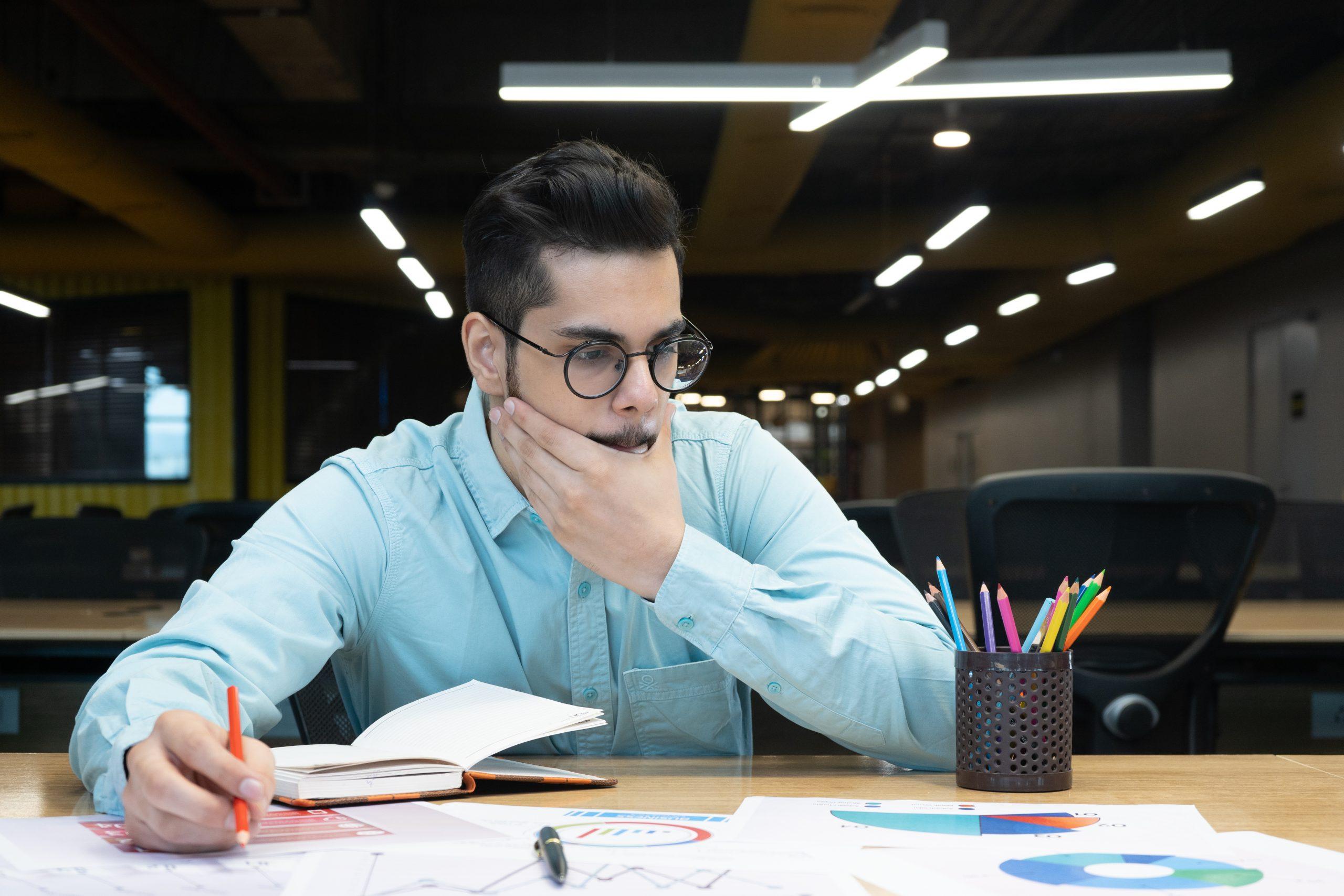 Businessman thinking about work