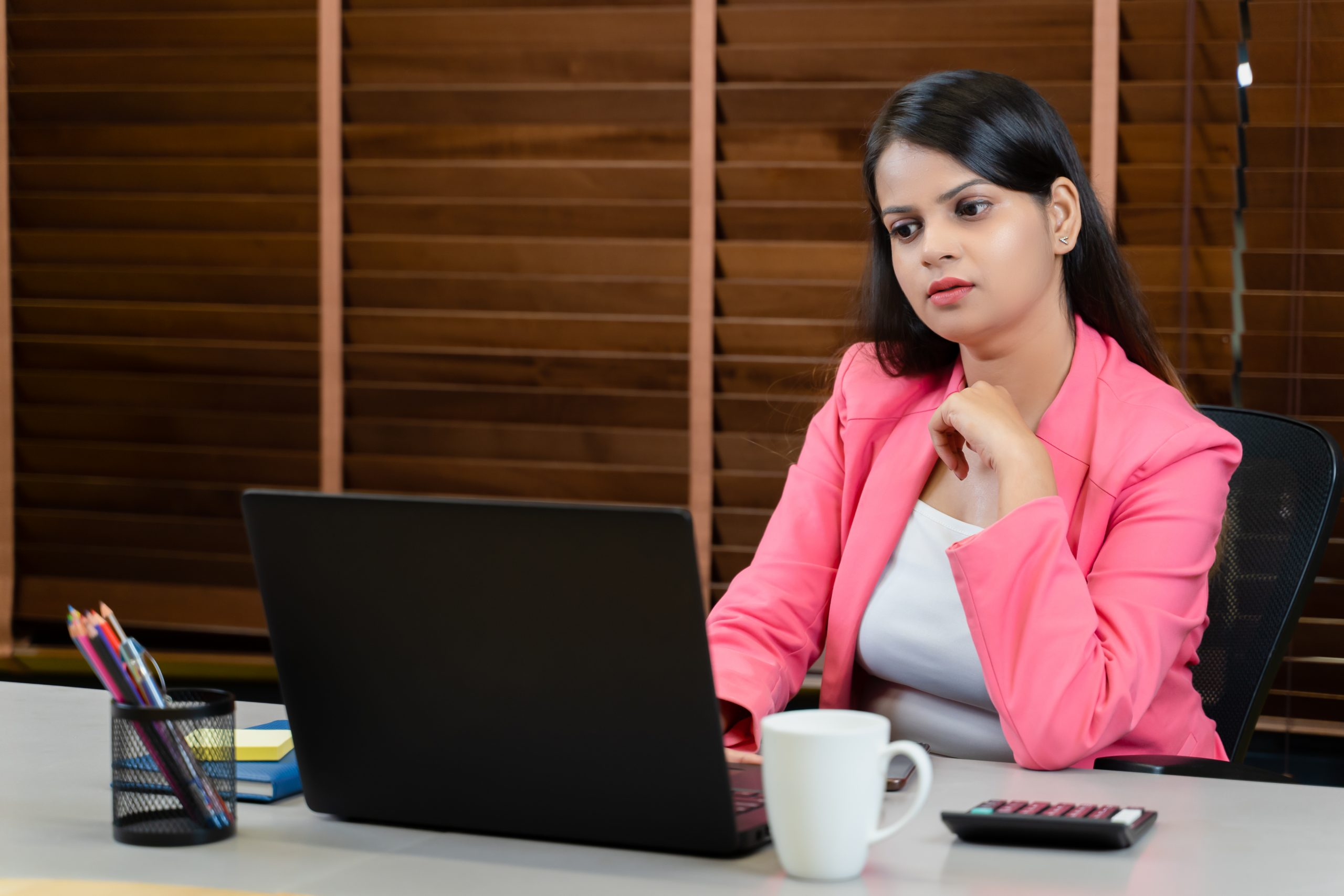 Businesswoman working seriously