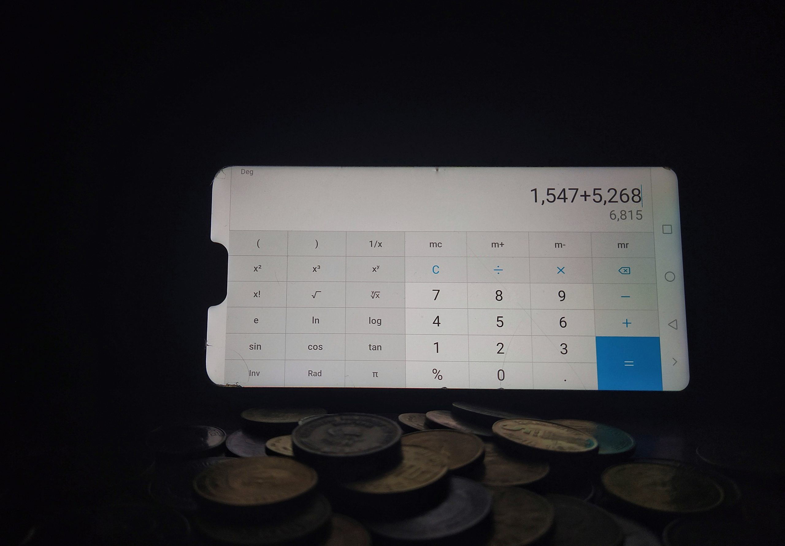 coins and mobile calculator