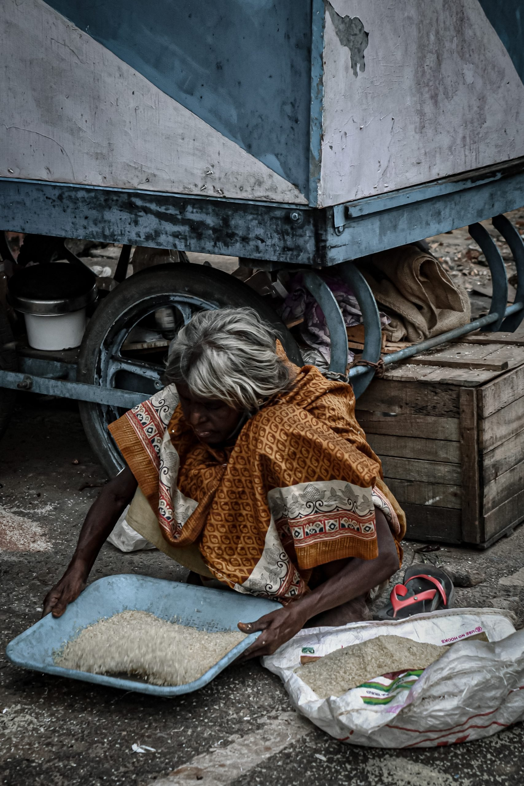 An old woman cleaning rice