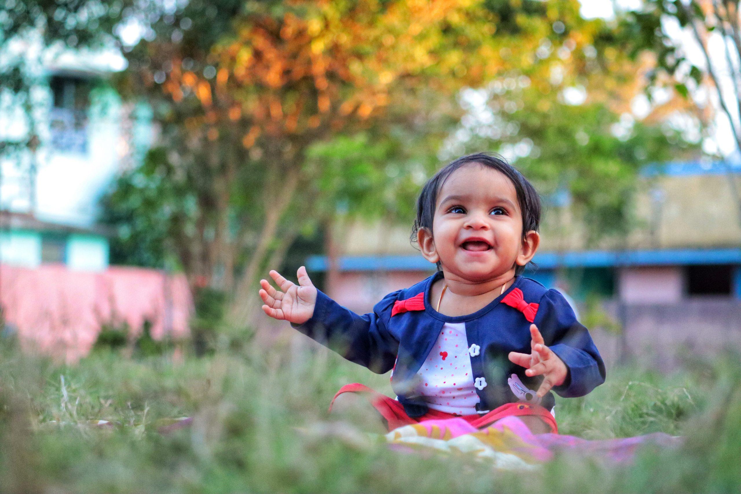smiling kid in garden