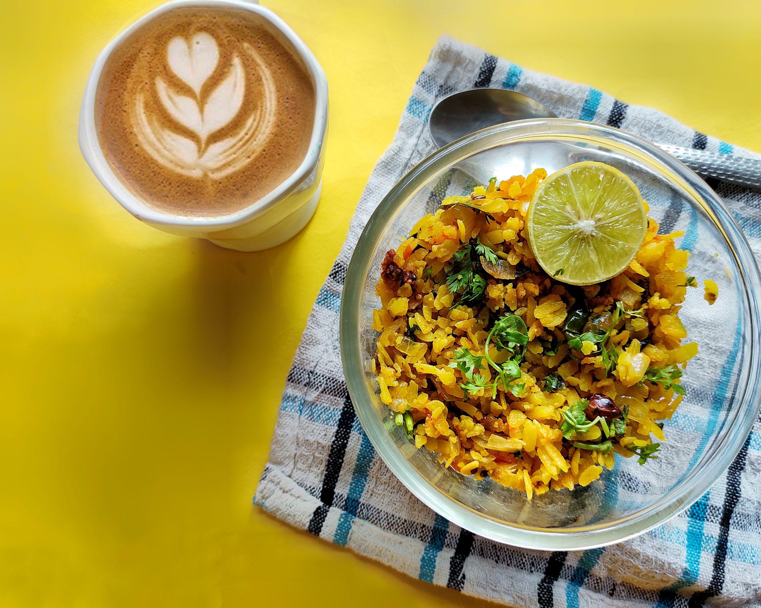 Cappuccino and kanda poha
