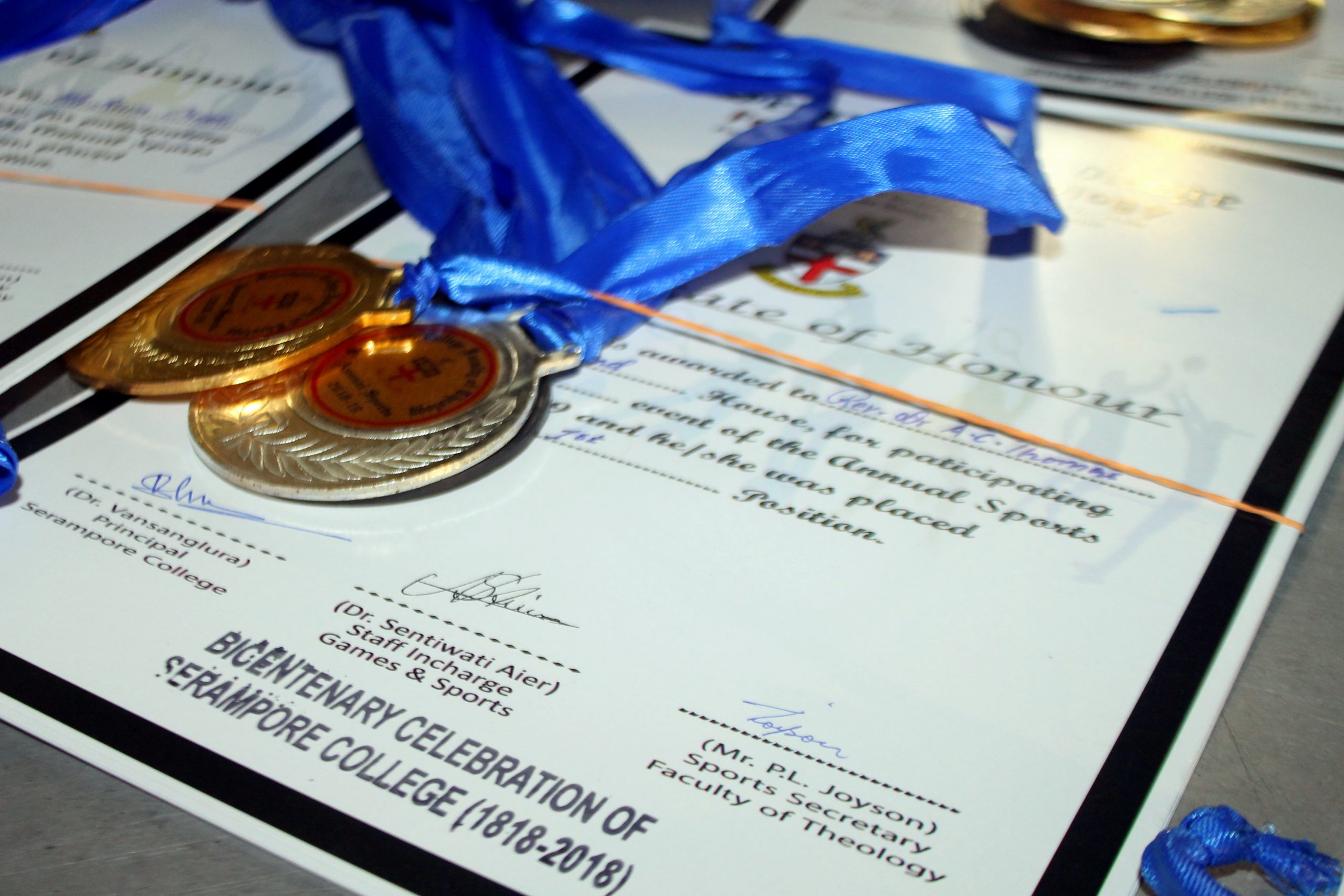 certificate and medals
