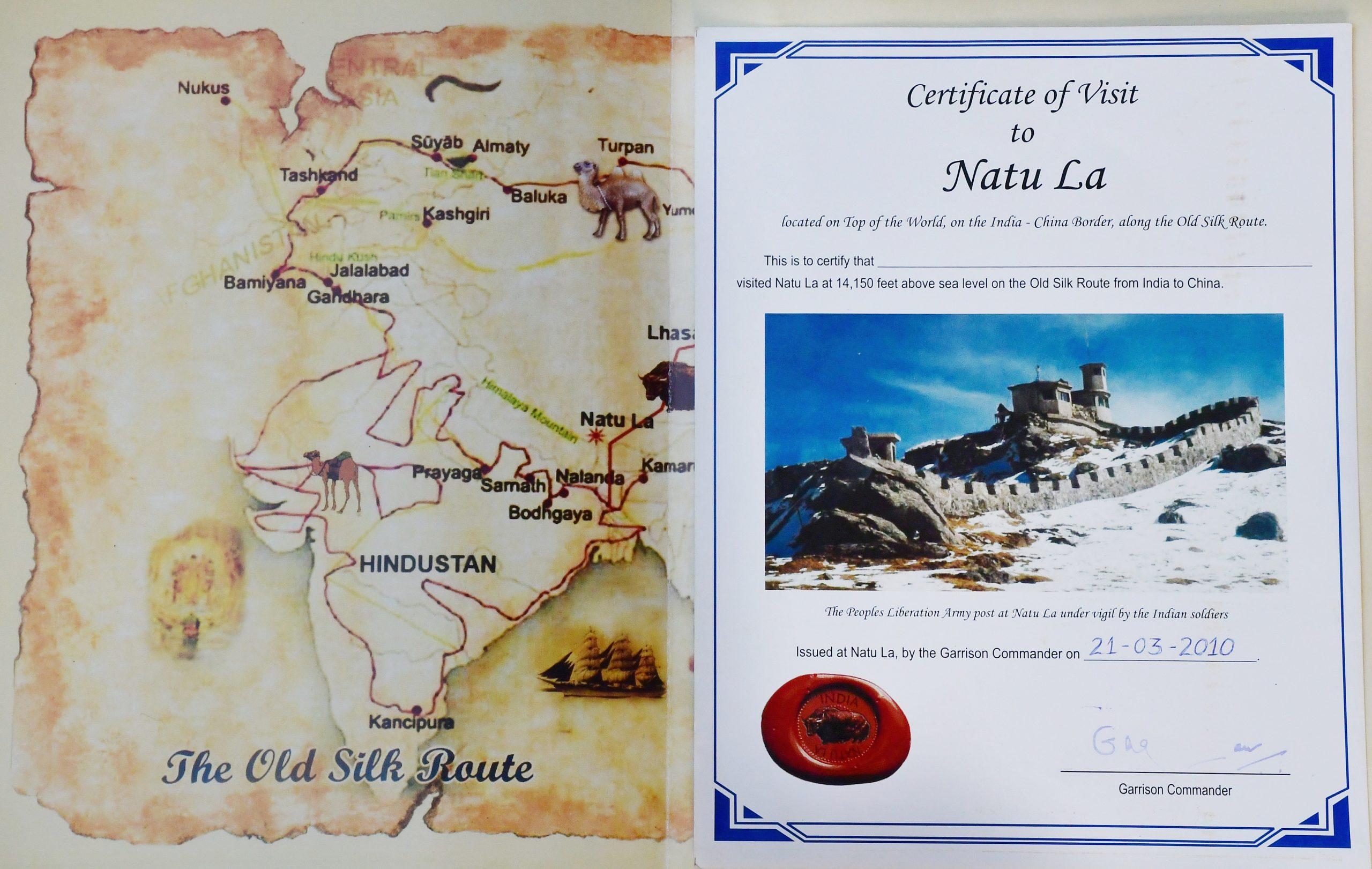 Certificate of Visit