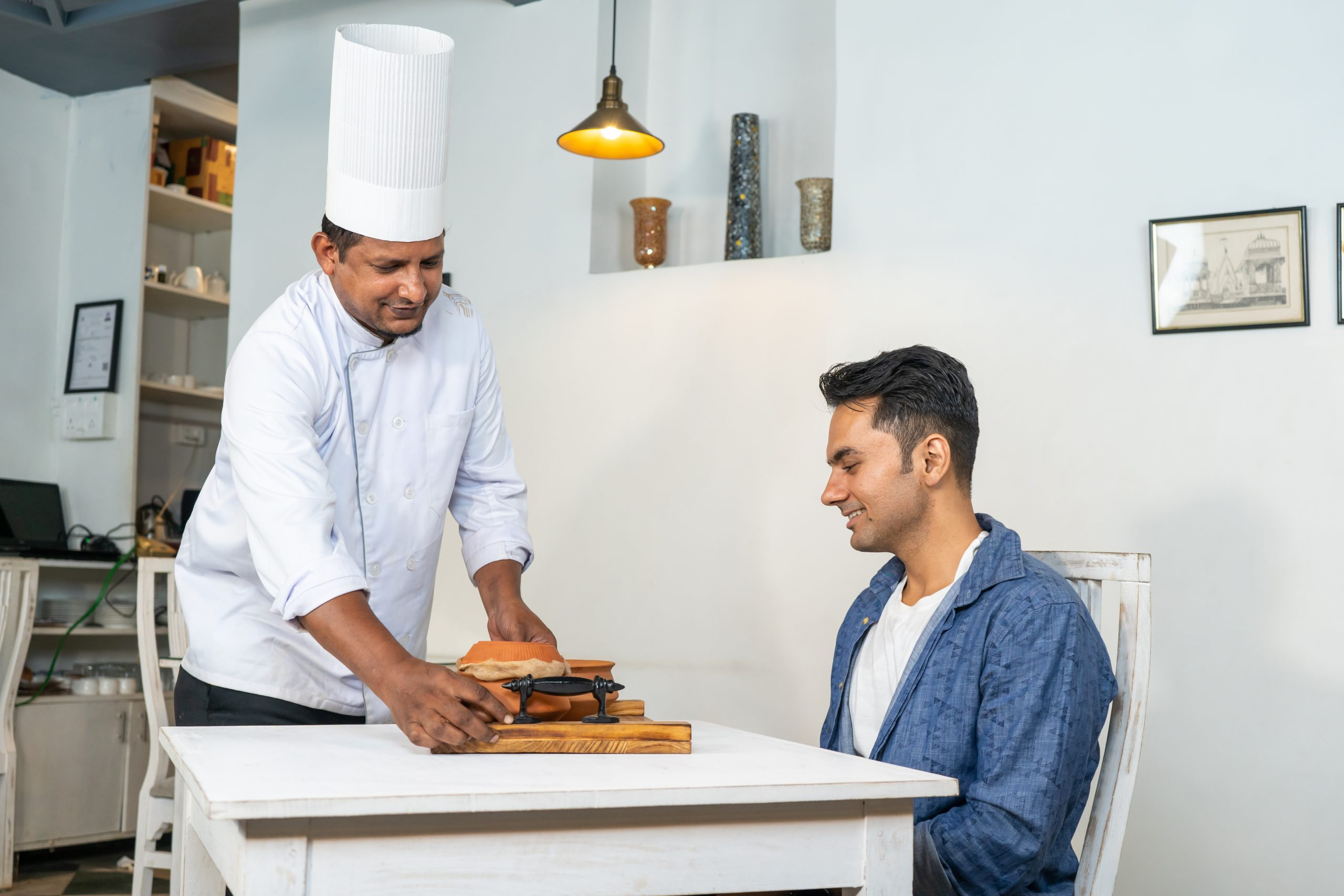 chef serving a customer
