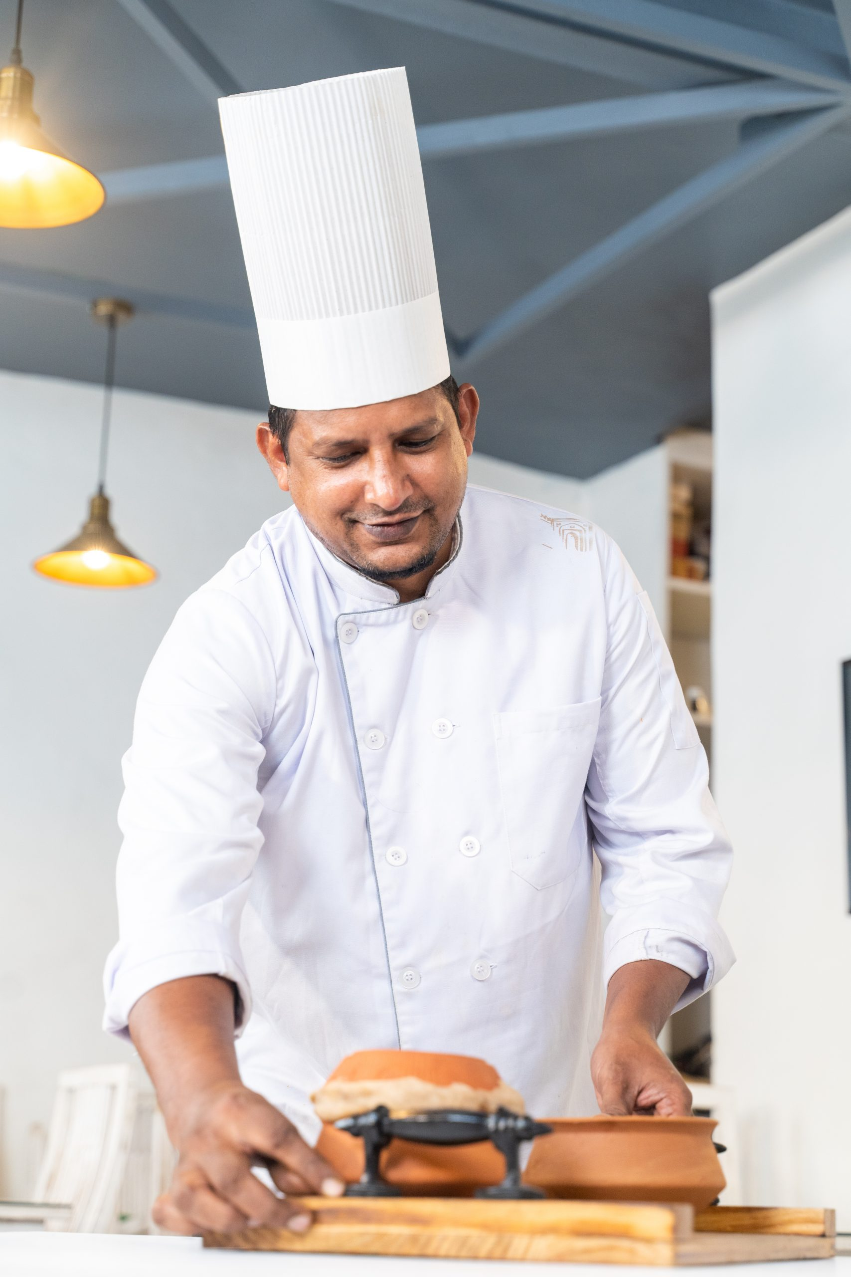 Chef serving the food