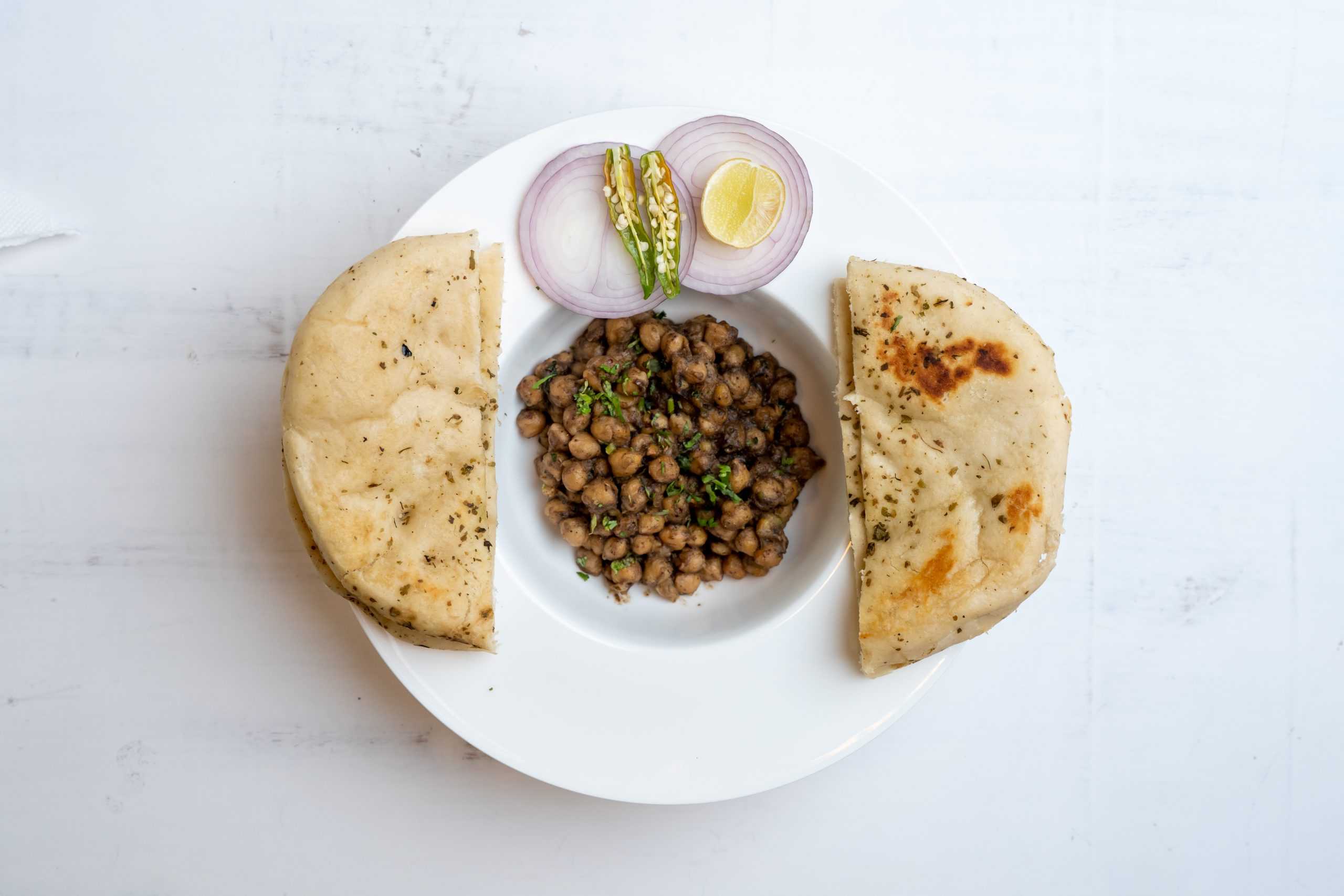 Chole kulche in a plate