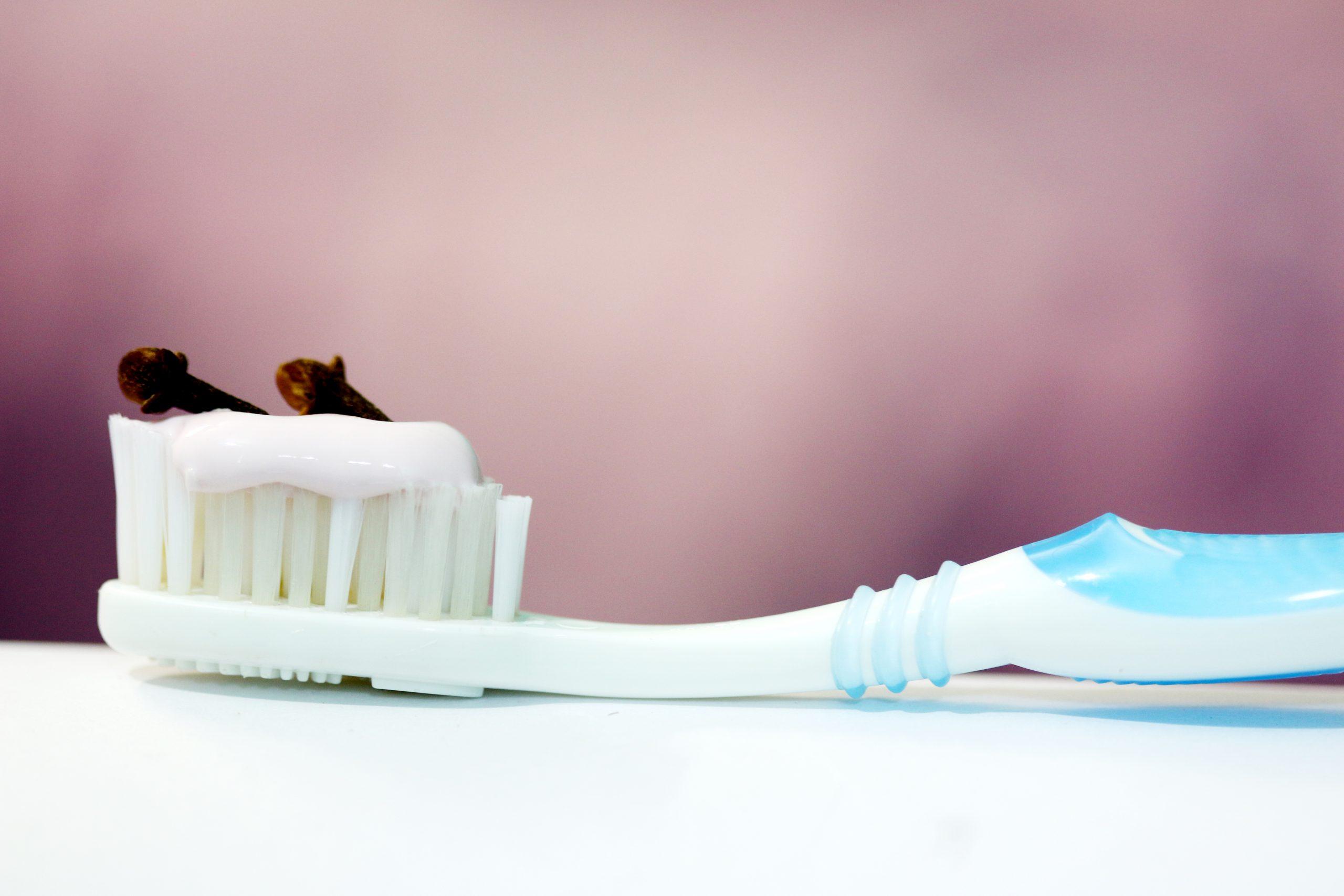 clove on toothbrush