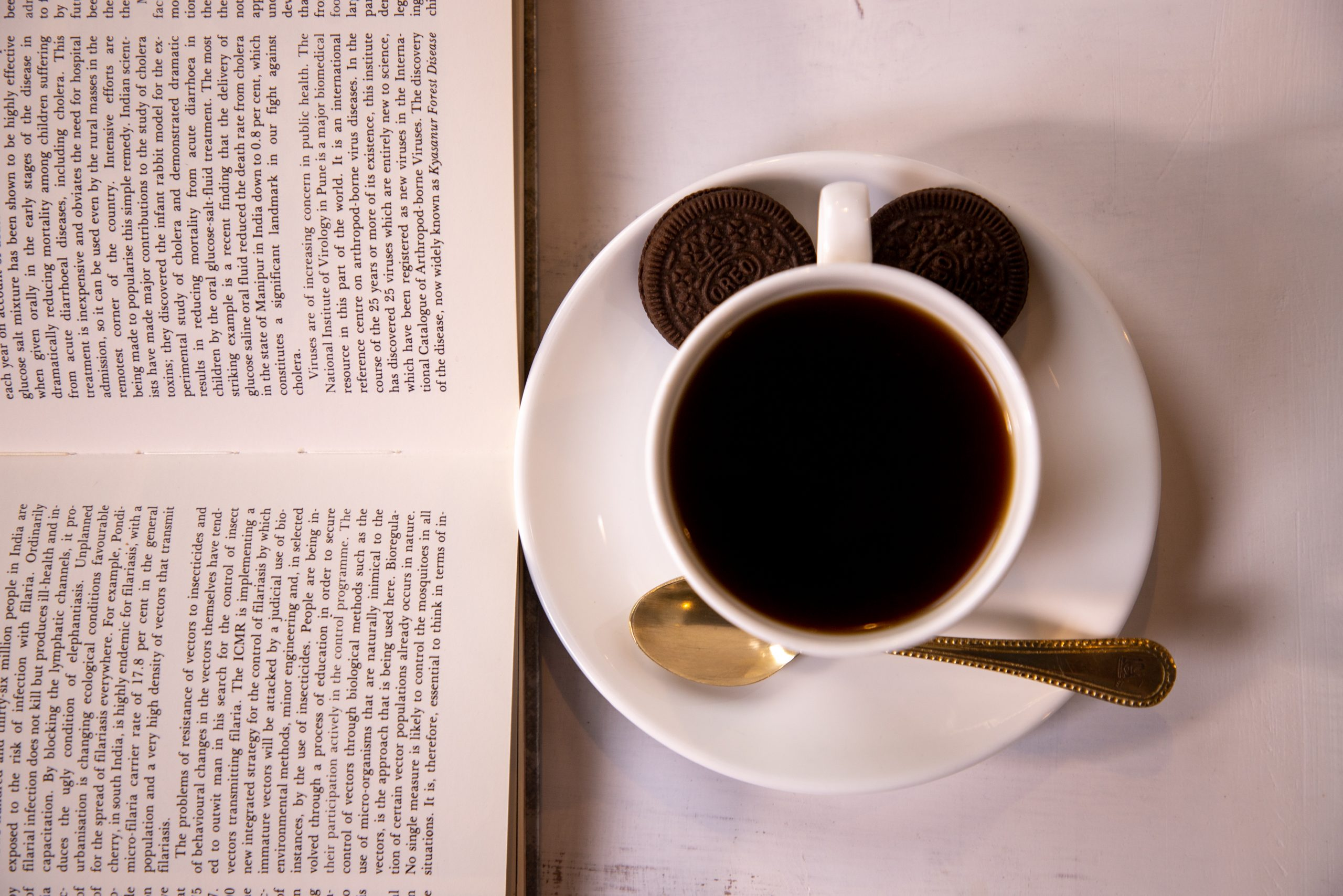 Black coffee with Oreo and a good book.