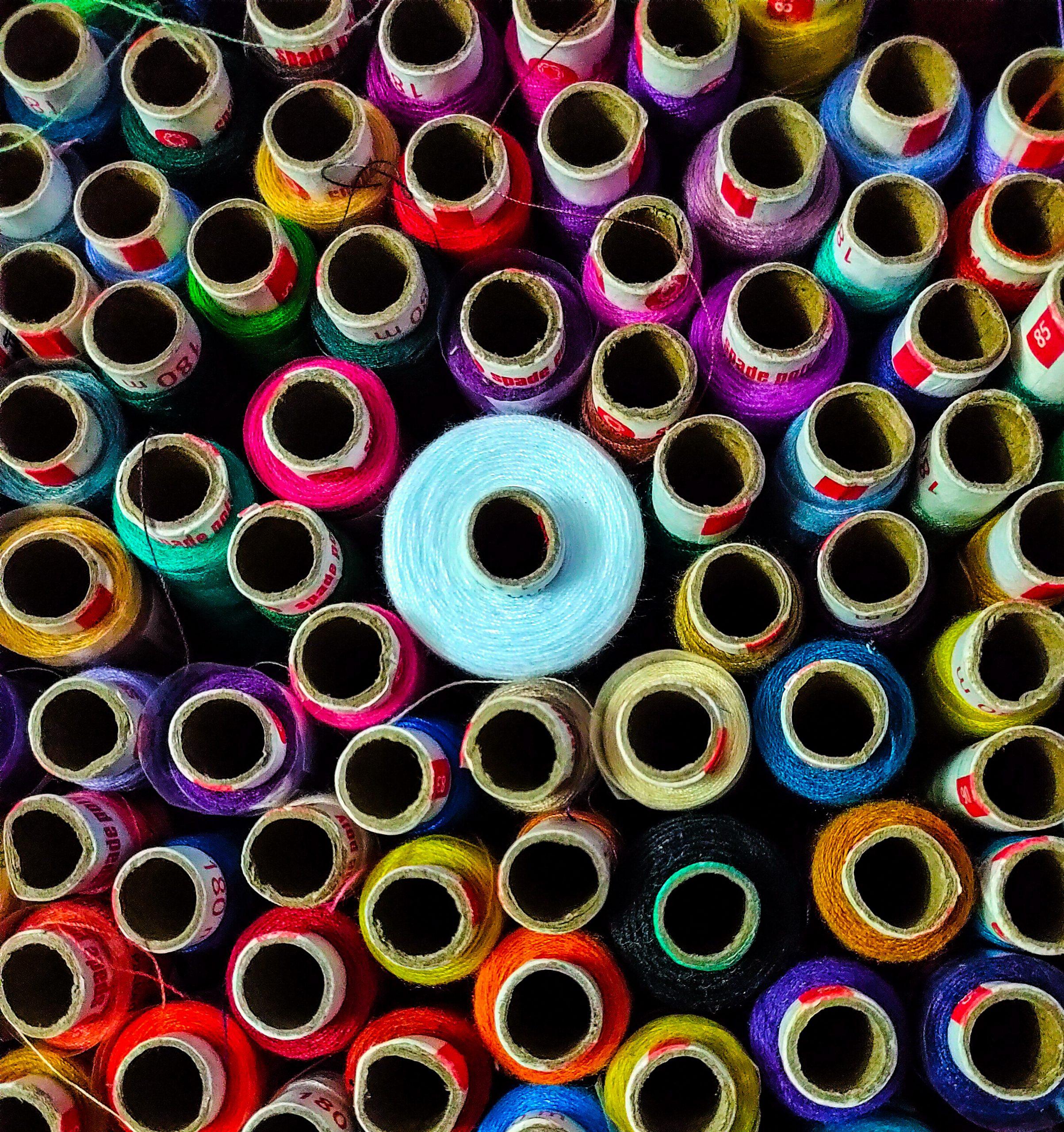 colorful thread rolls