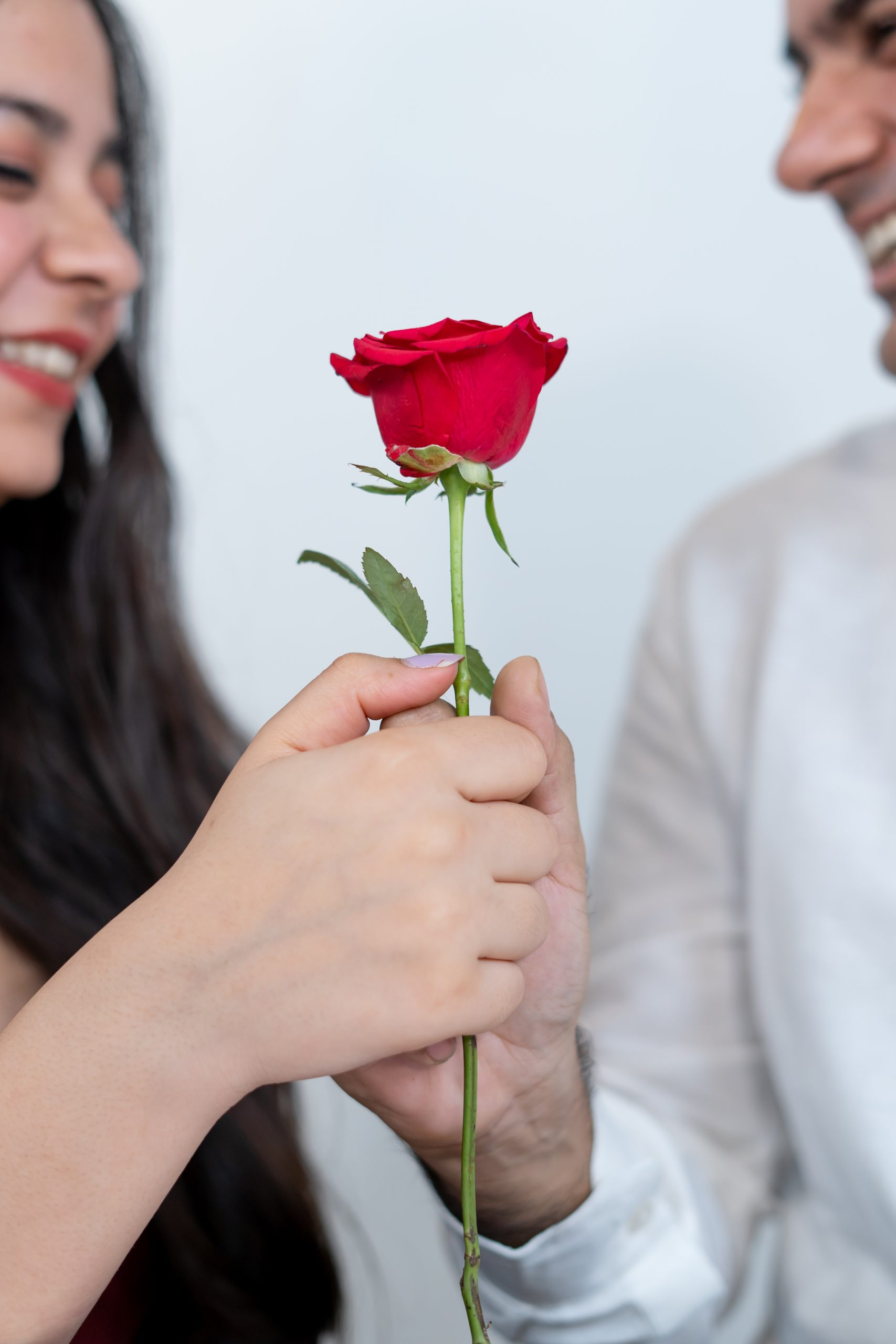 Couple exchanging rose