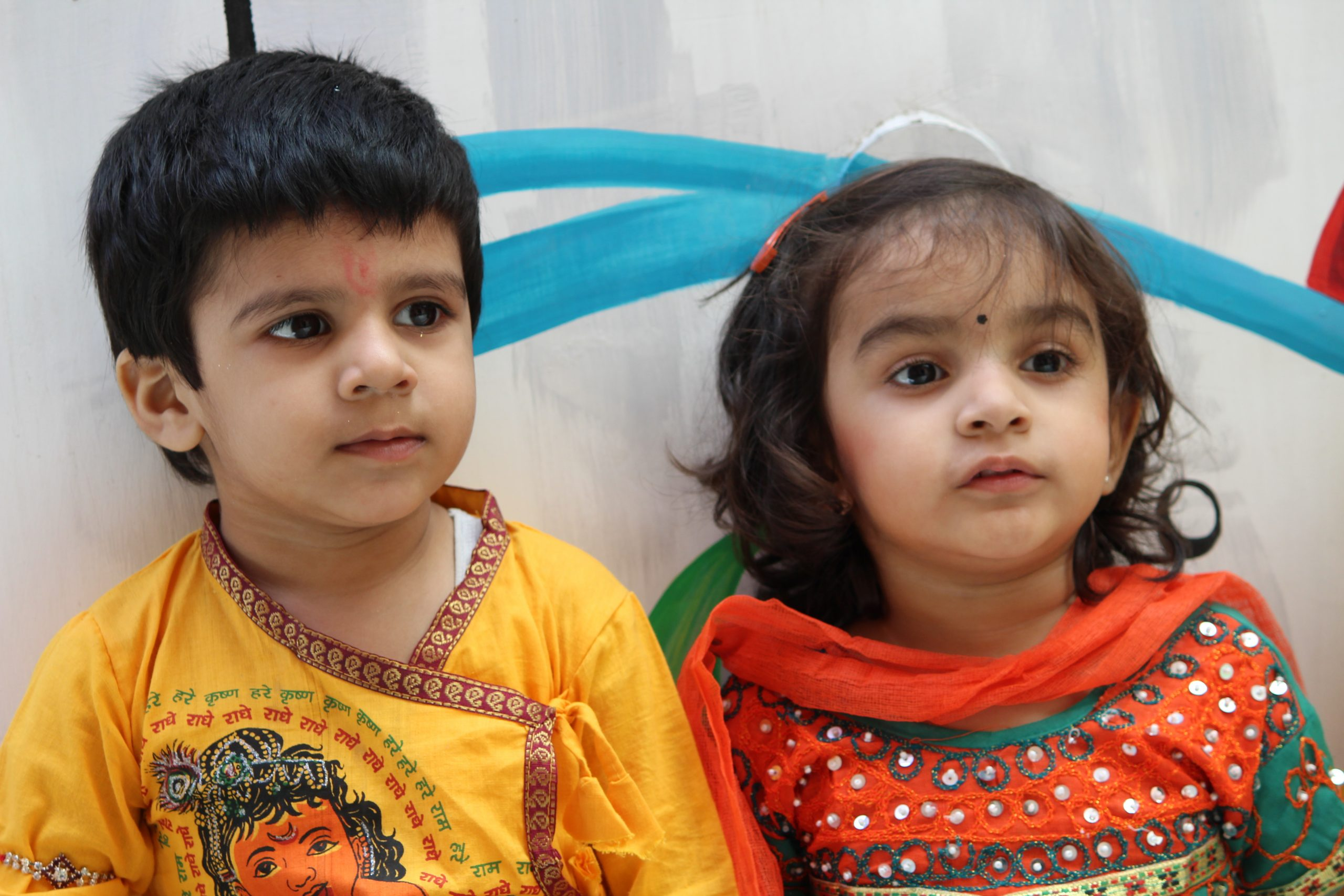 kids dressed up in ethnic wear