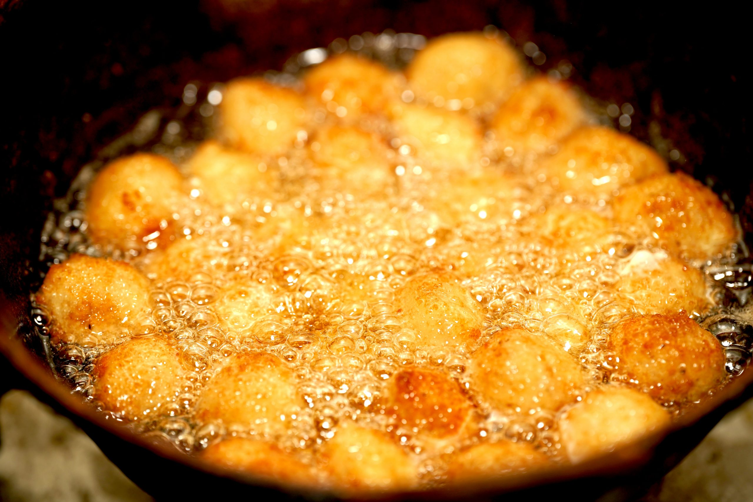 Food items in frying pan