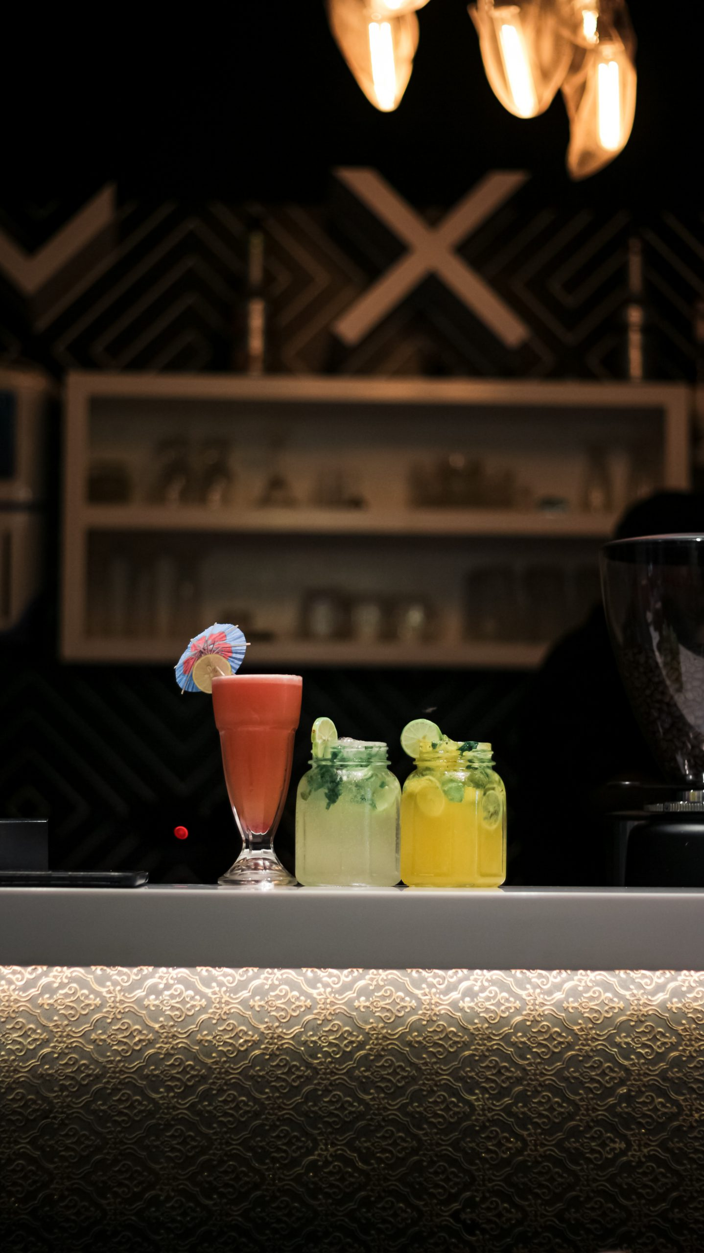 beverages on bar counter
