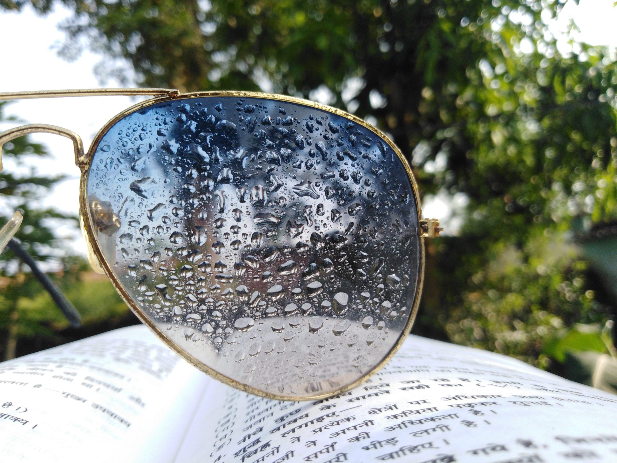 water drop on sunglasses