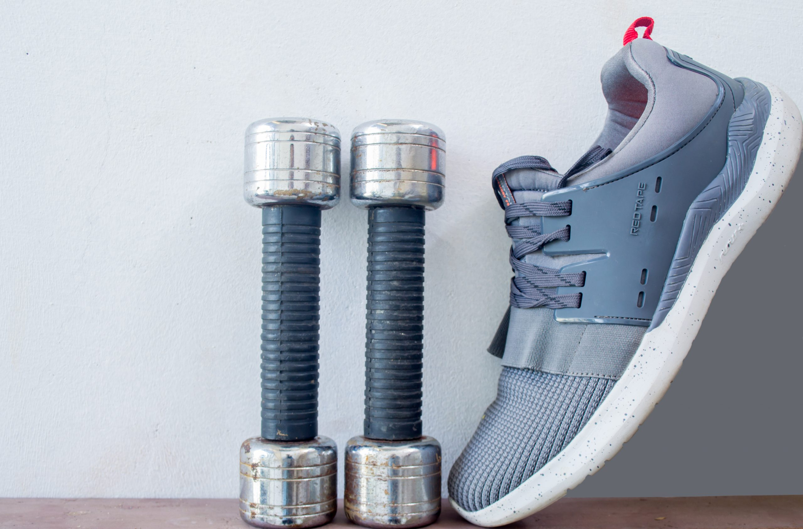 Dumbbells and shoe