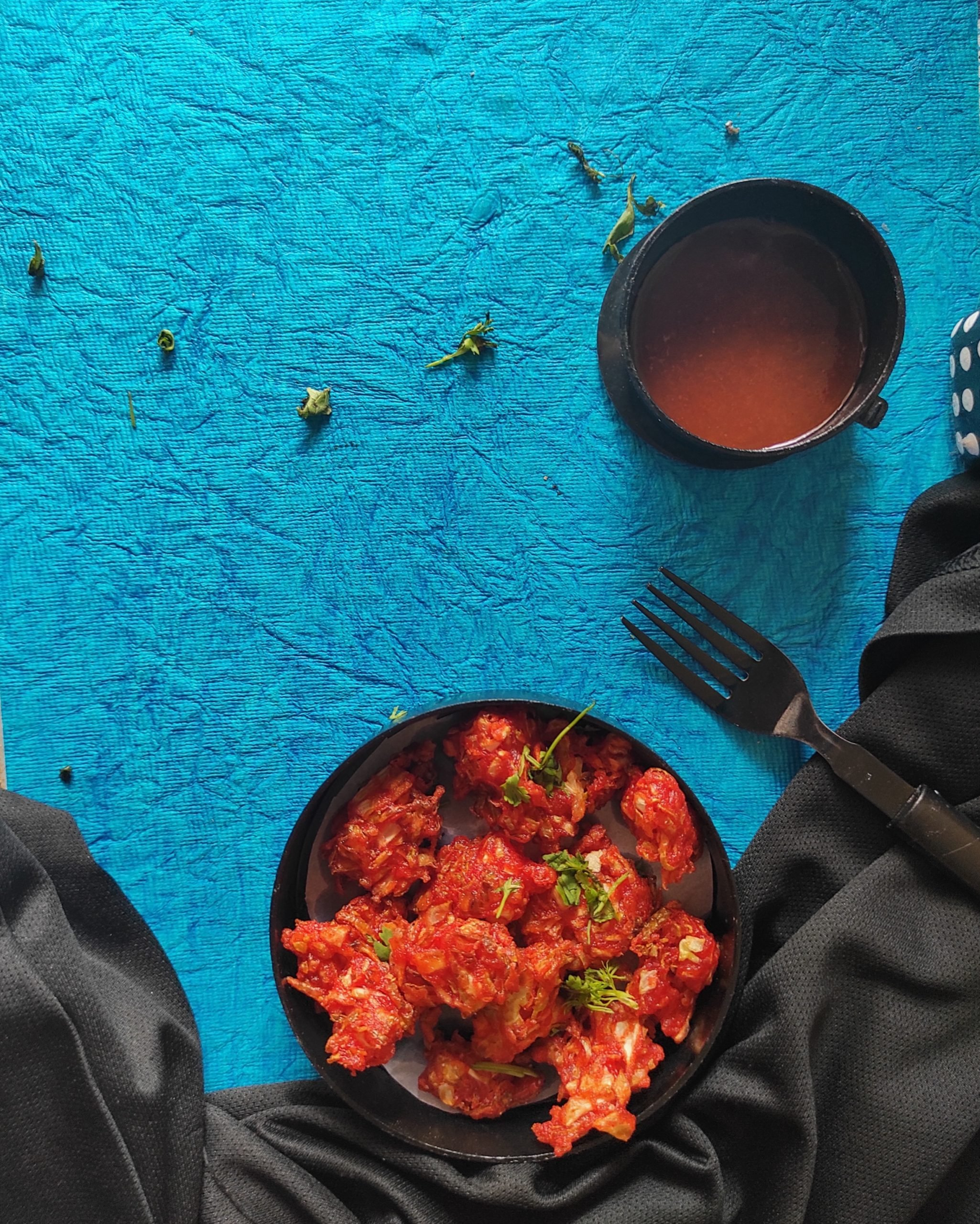 Eating Veg Manchurian