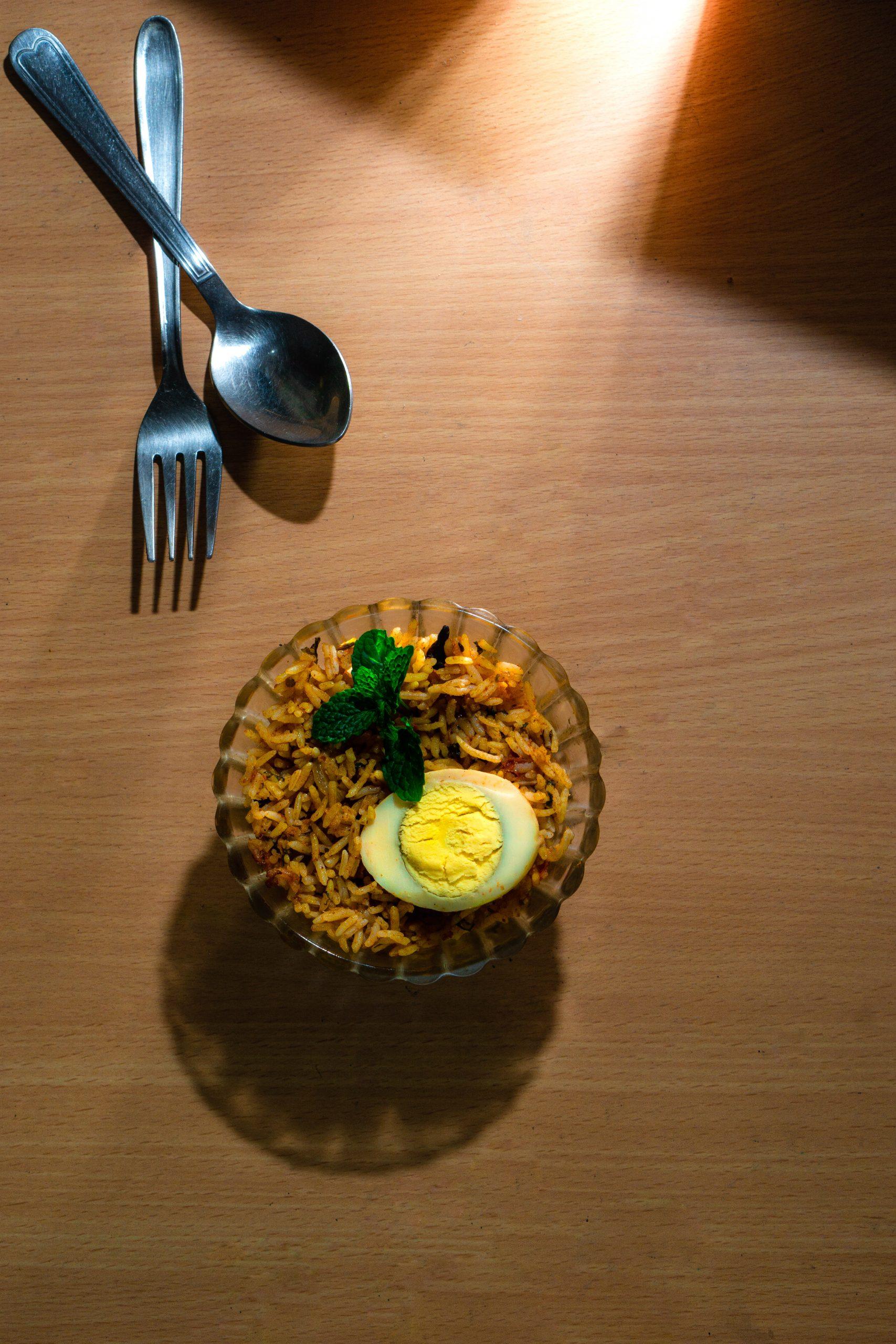 Egg biriyani in a bowl