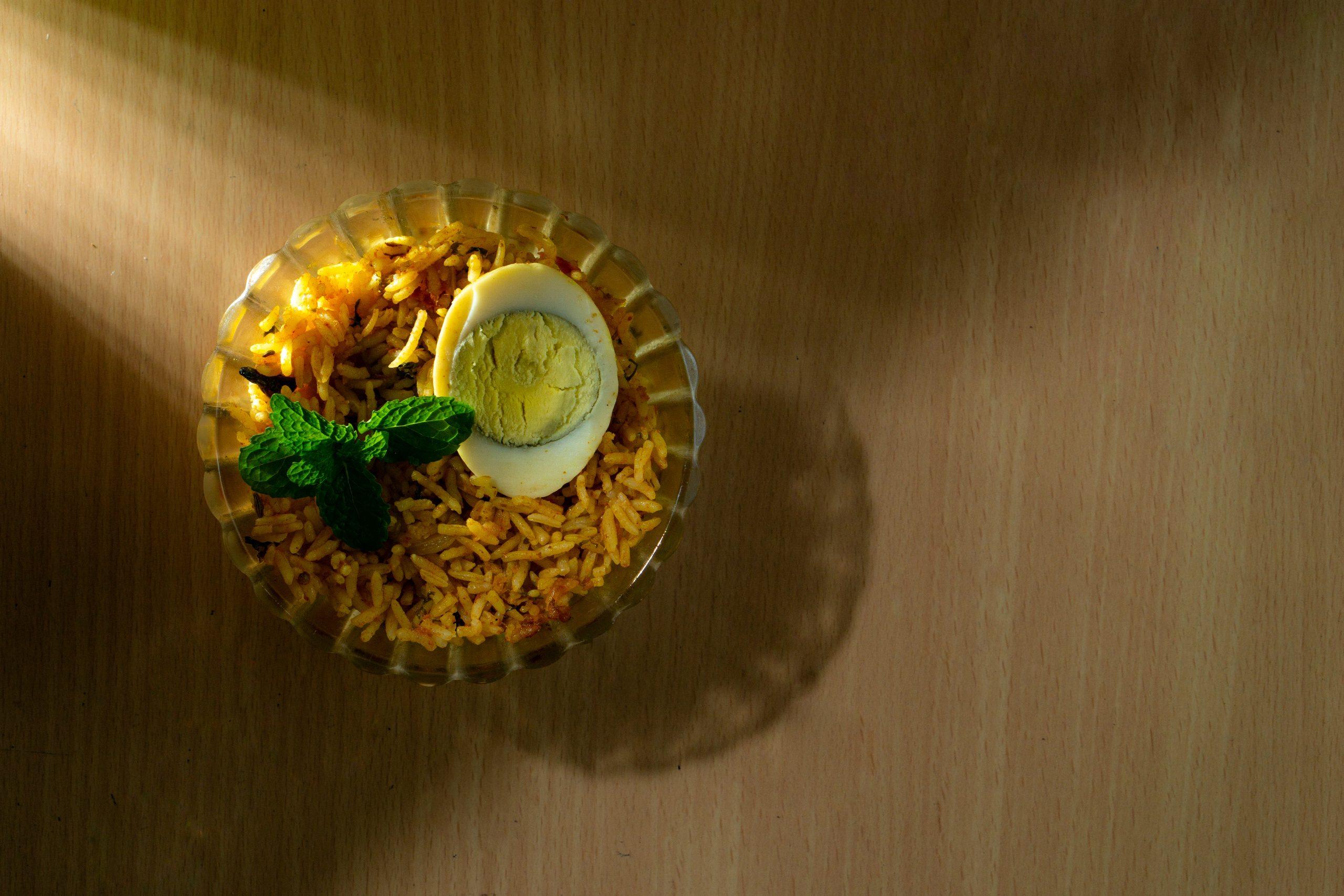 Egg biryani in a bowl