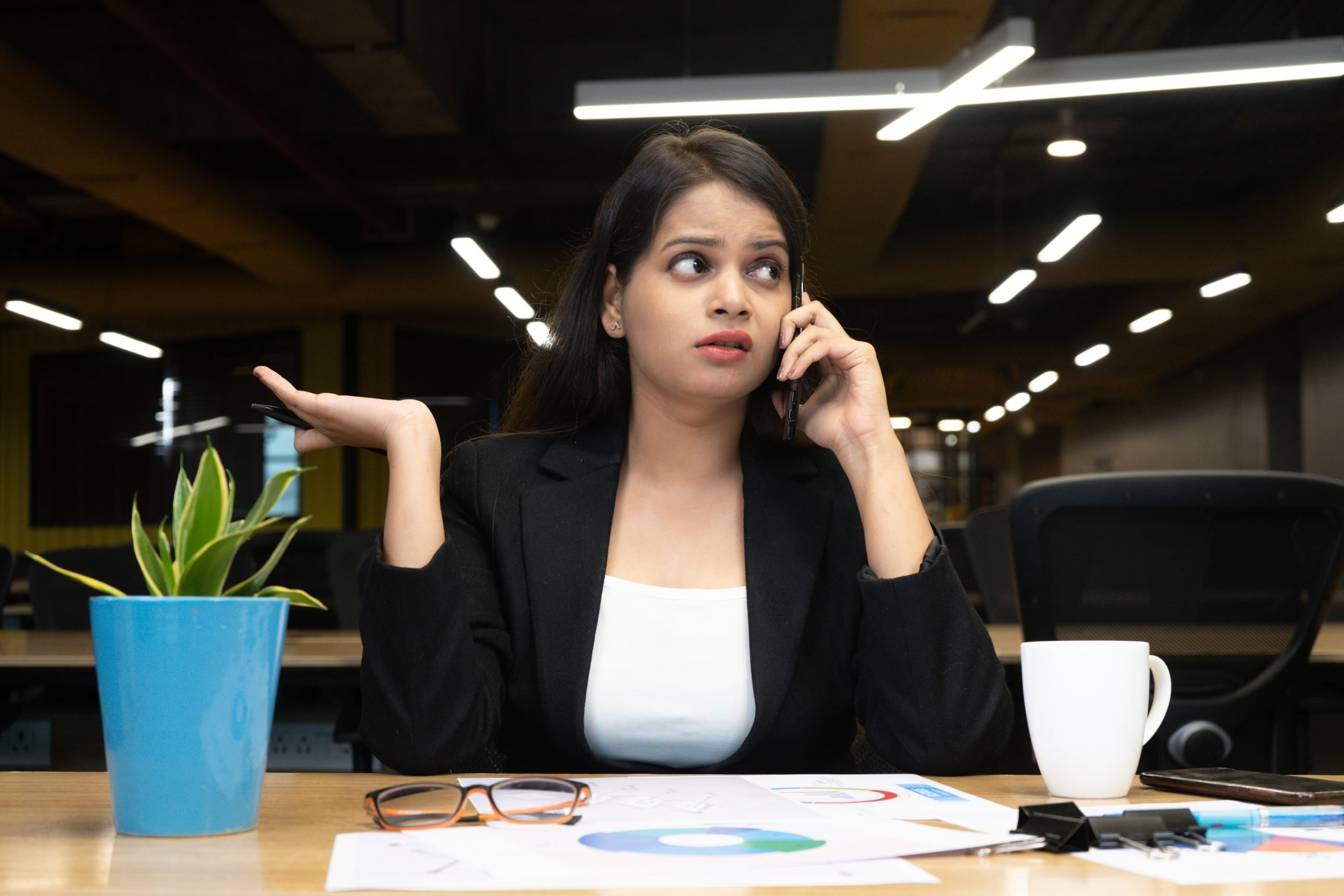Employee busy on call