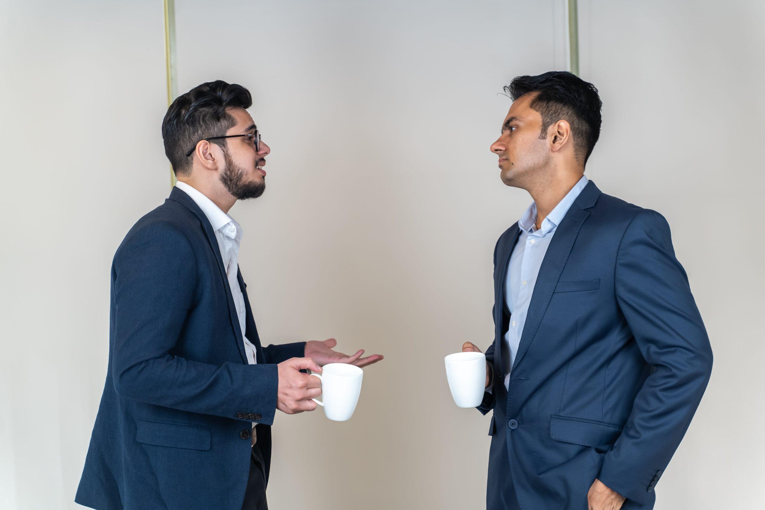 Employee explaining to manager