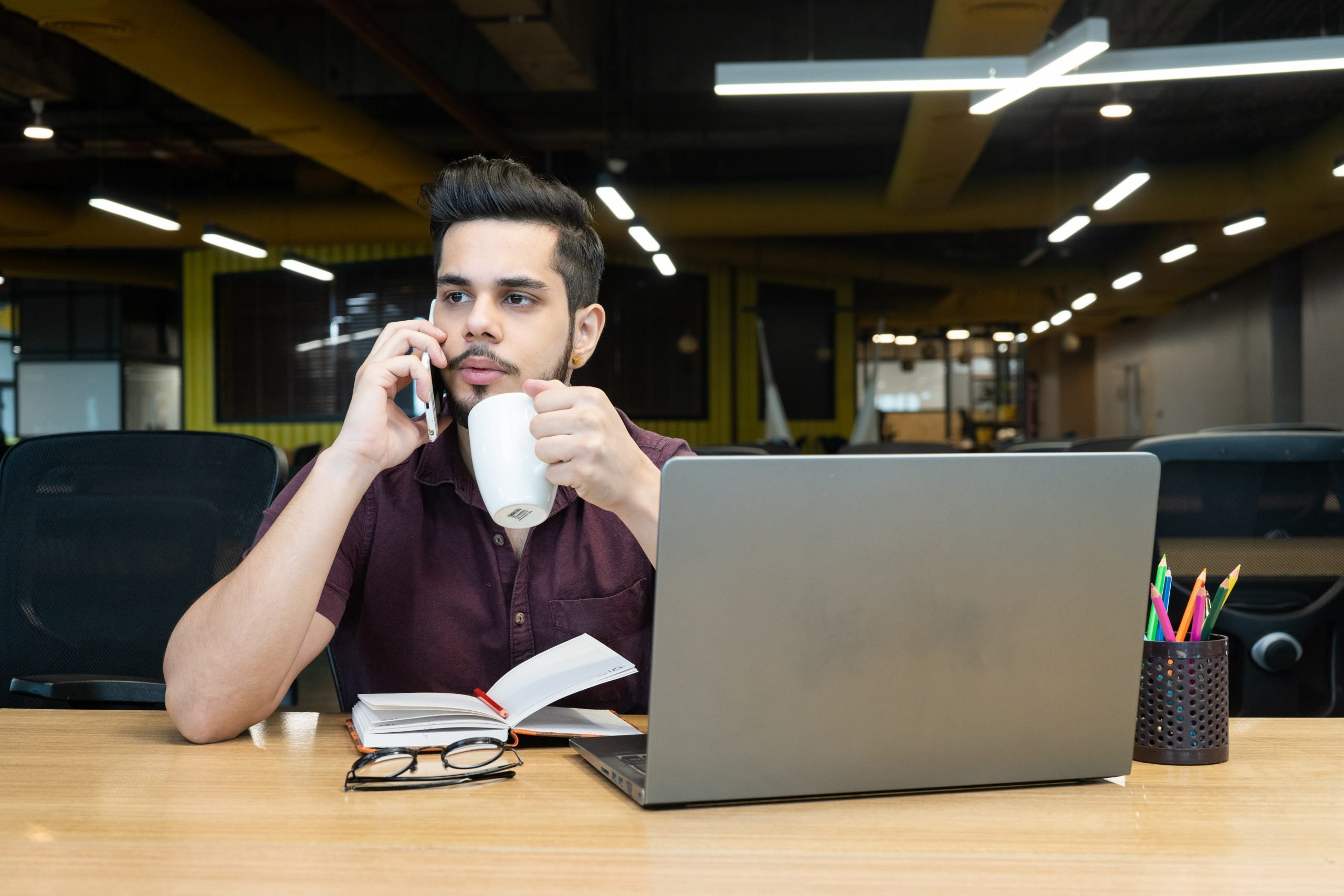 Employee listening to call