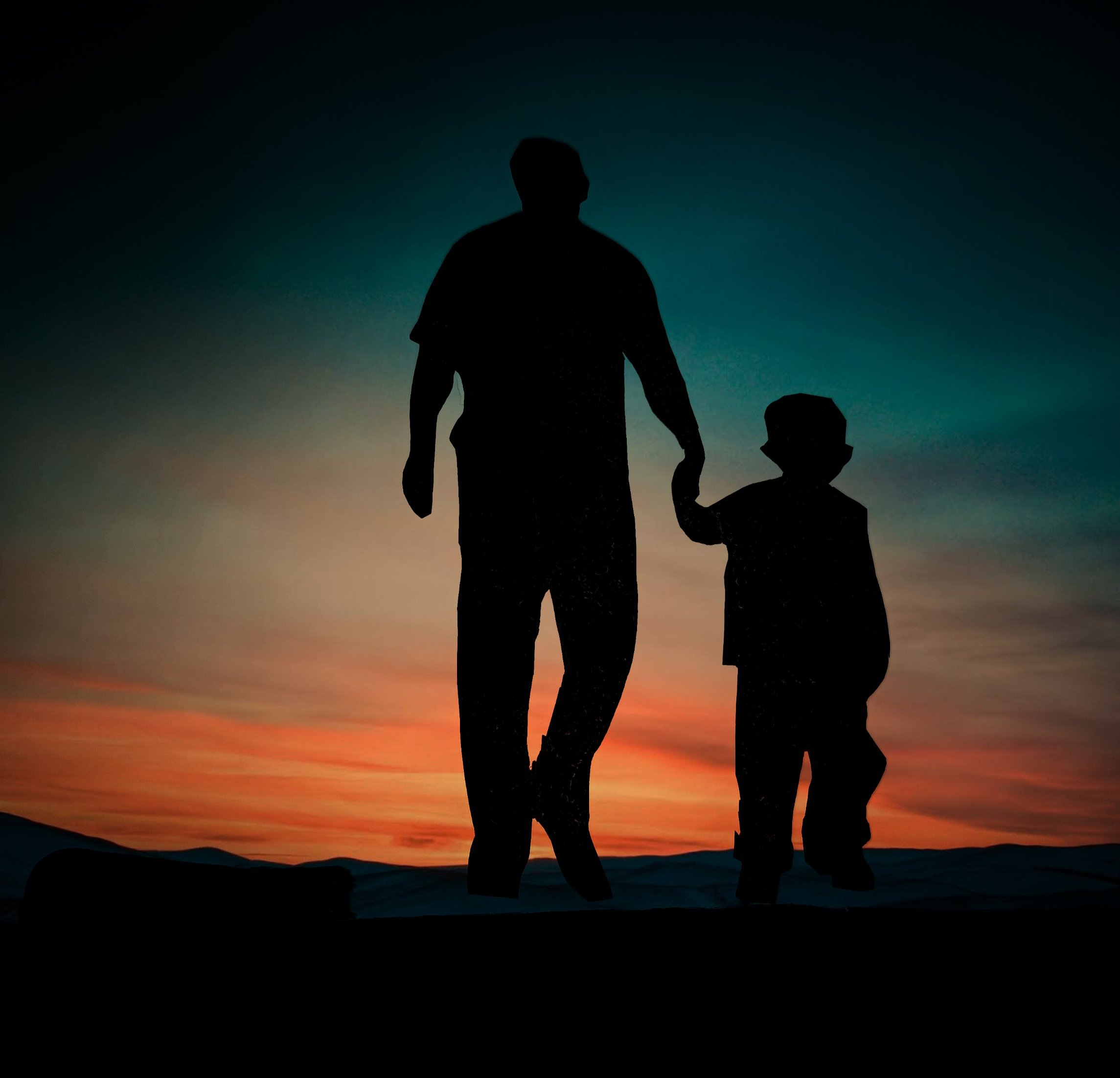 Father and son enjoying evening