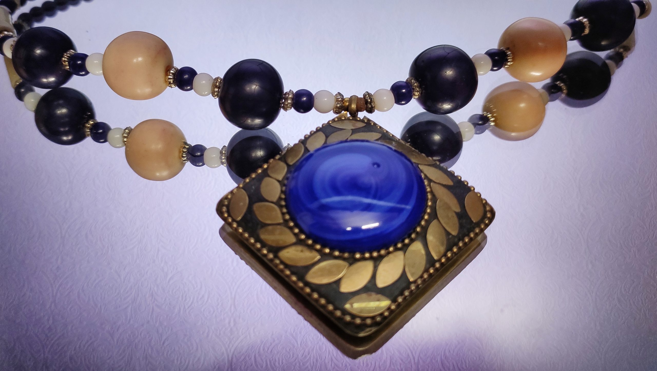 A necklace with gems