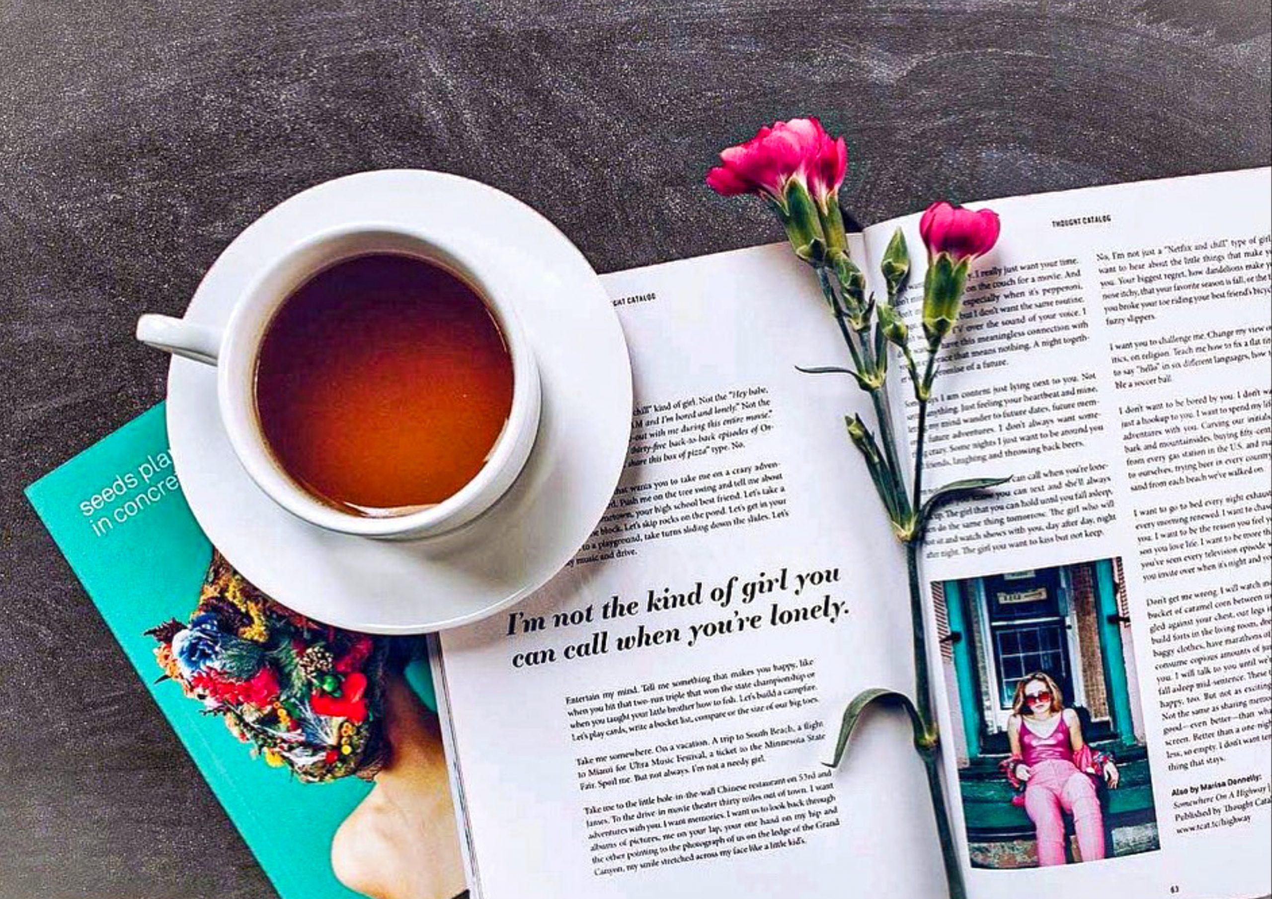 book, coffee, flower