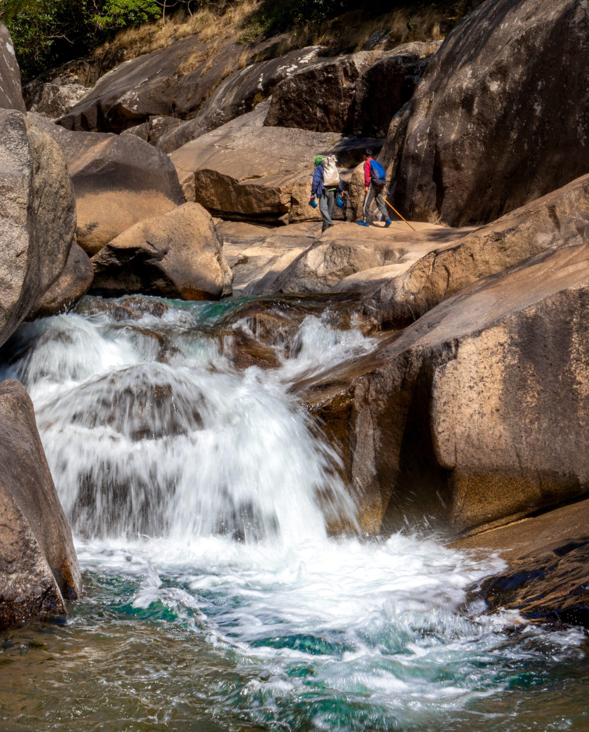 Fresh water flowing through rocks