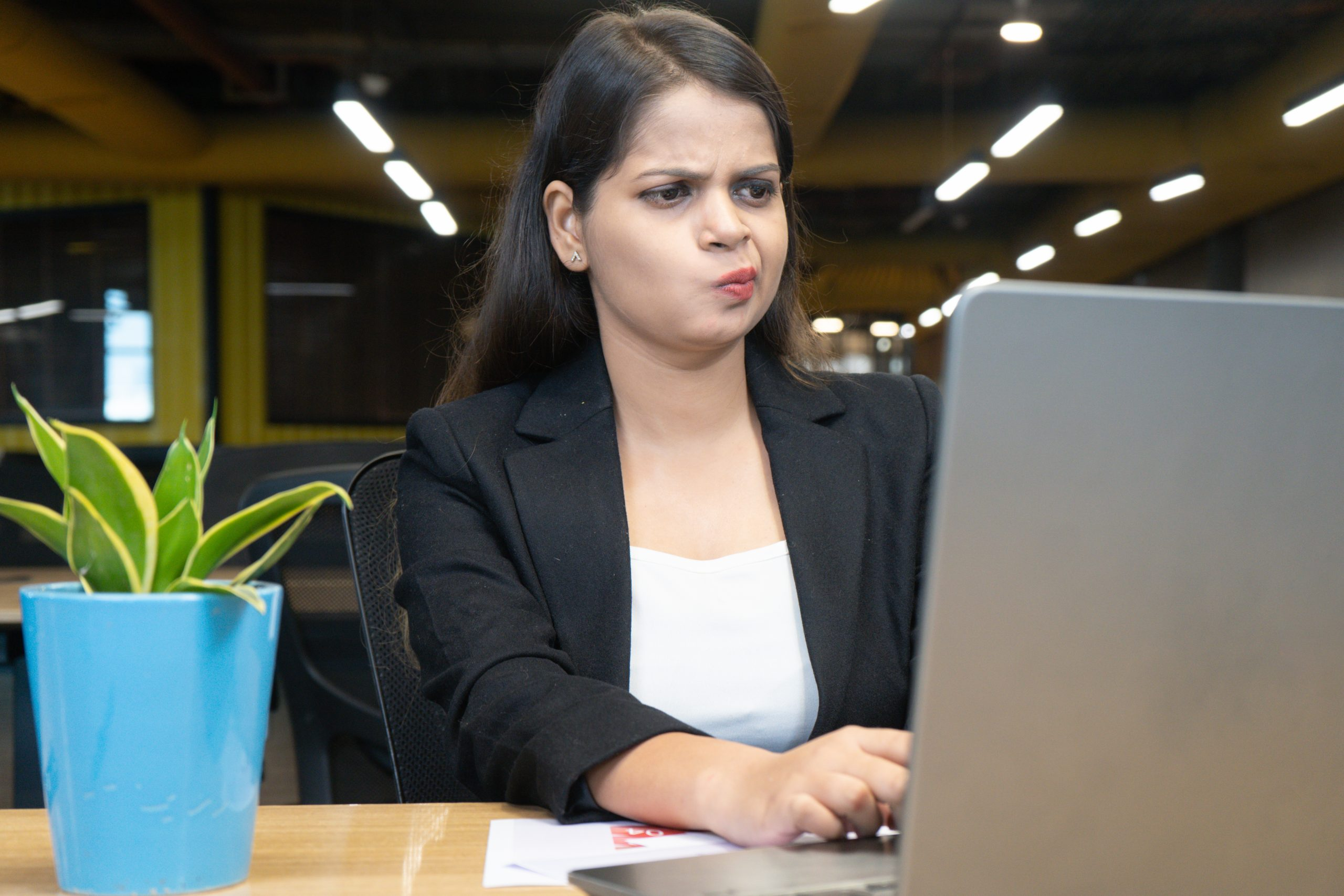 Girl unhappy with the work