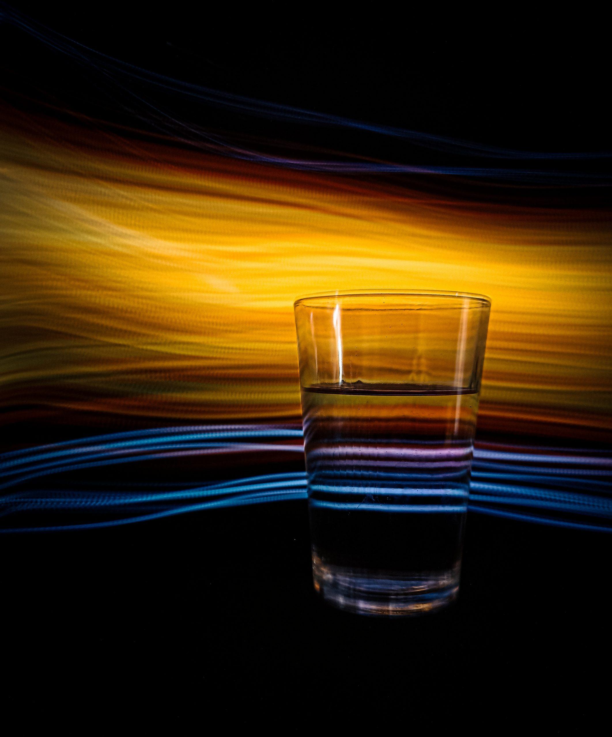 glass against light