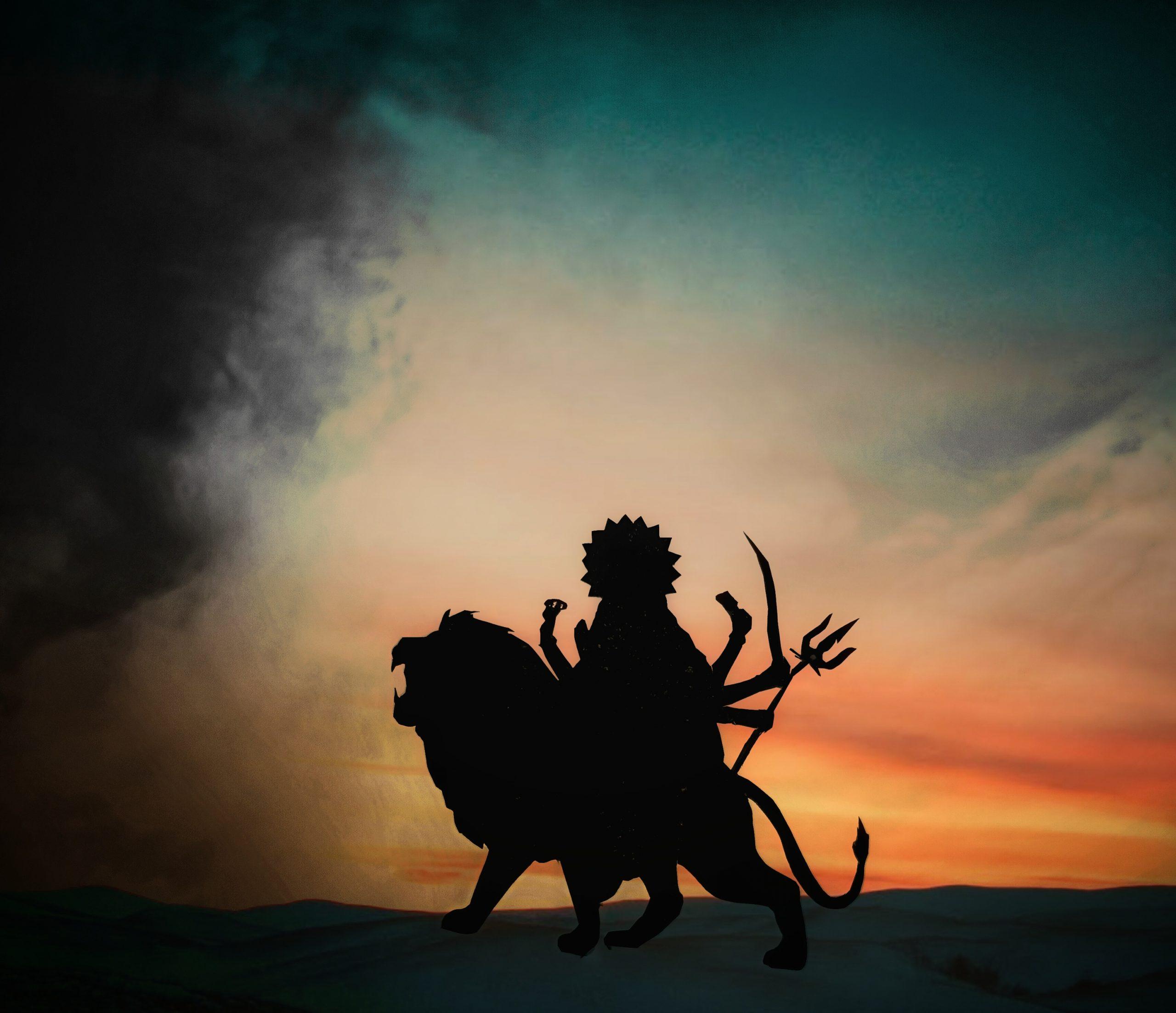 Goddess Durga idol in darkness