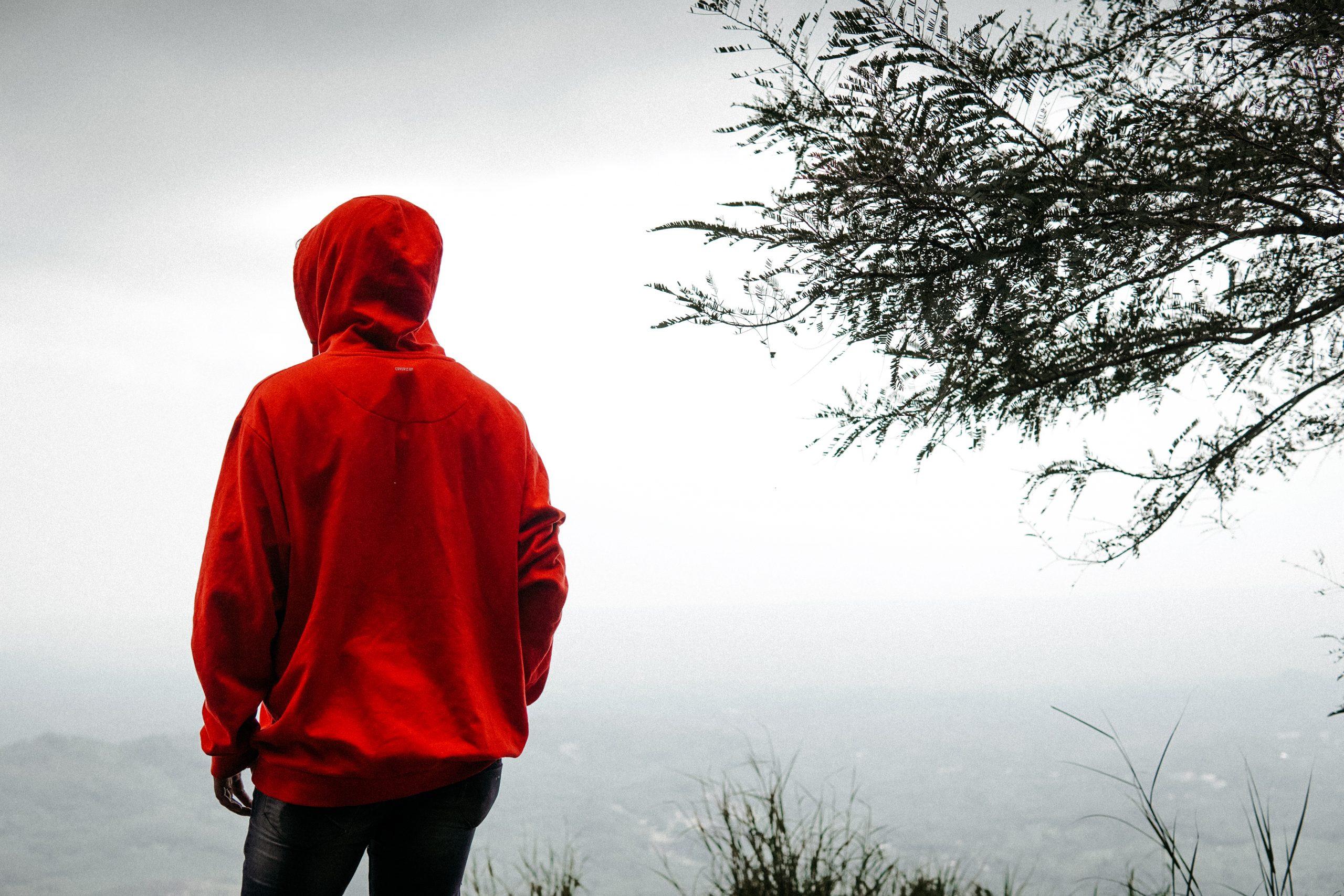 An alone boy at mountain top