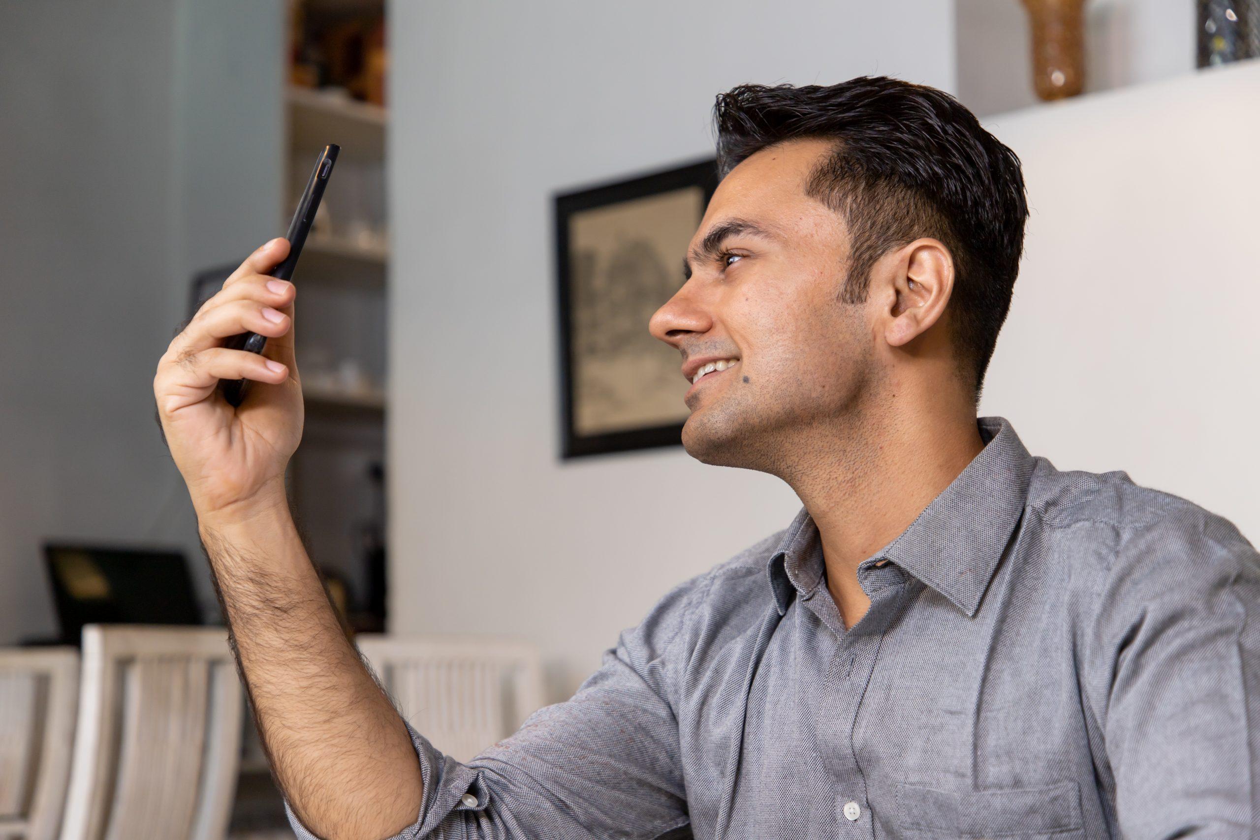 A man taking selfie.
