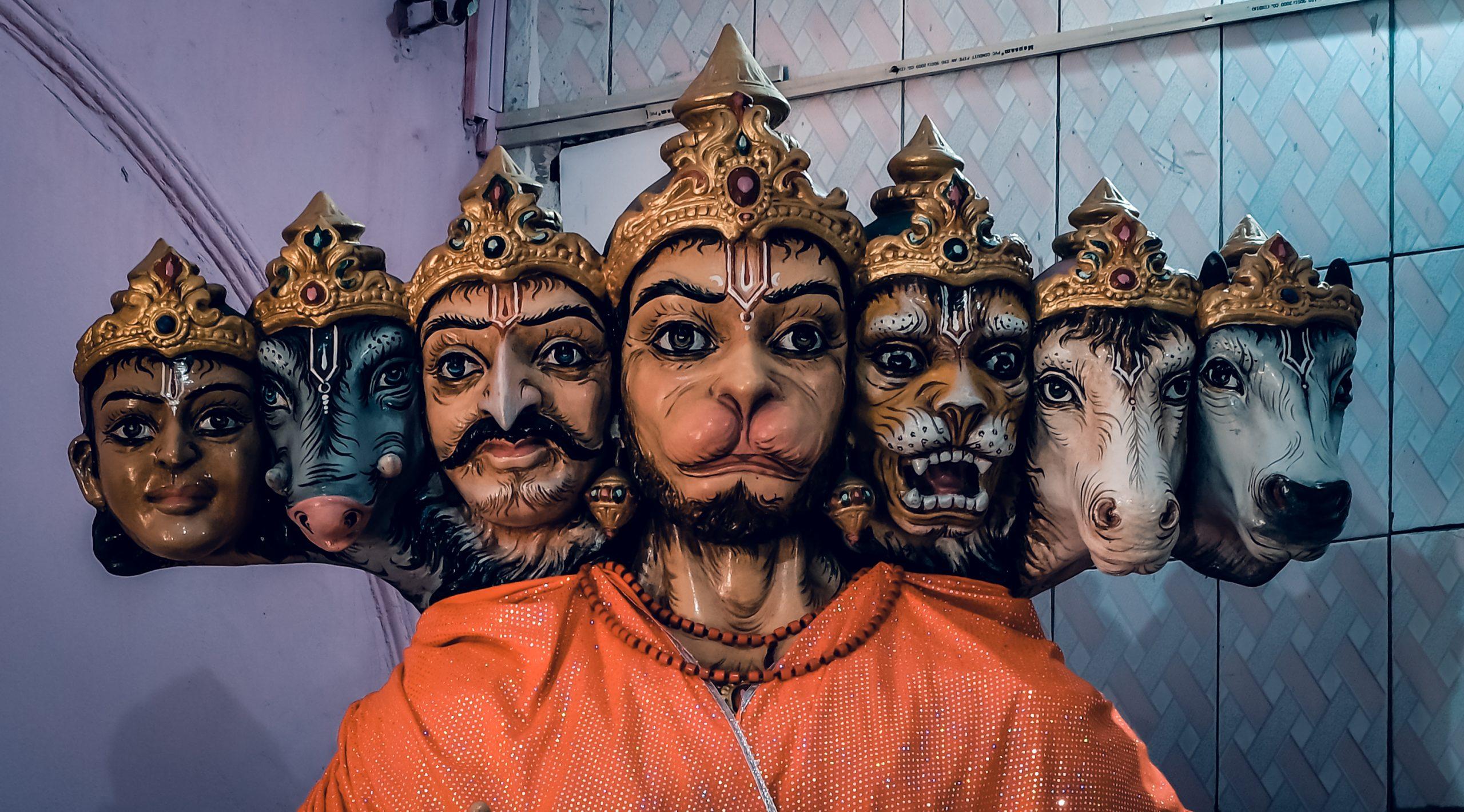 Statue of seven faces of Hanuman.